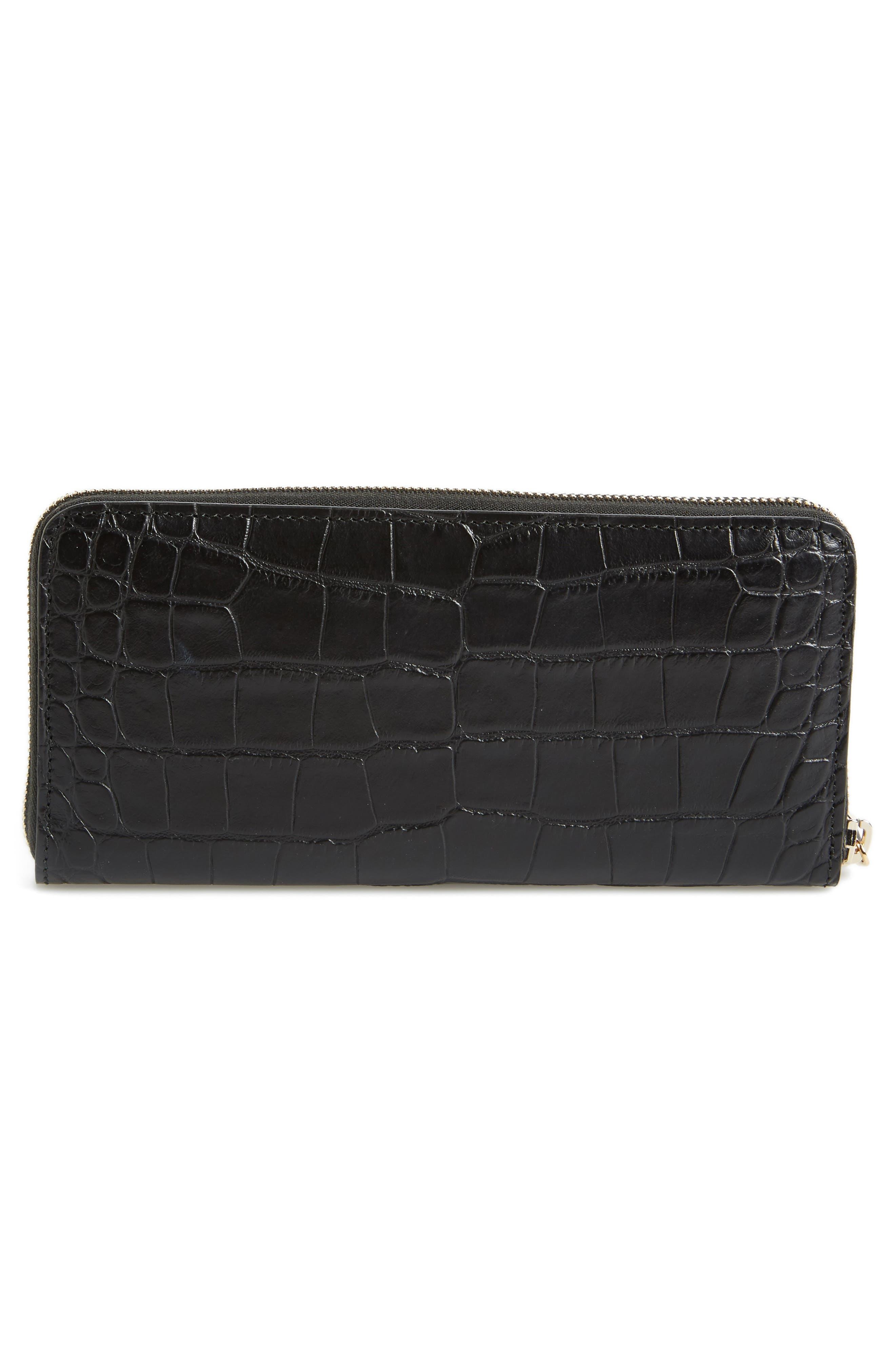 Croc-Embossed Leather Zip Around Wallet,                             Alternate thumbnail 4, color,                             BLACK