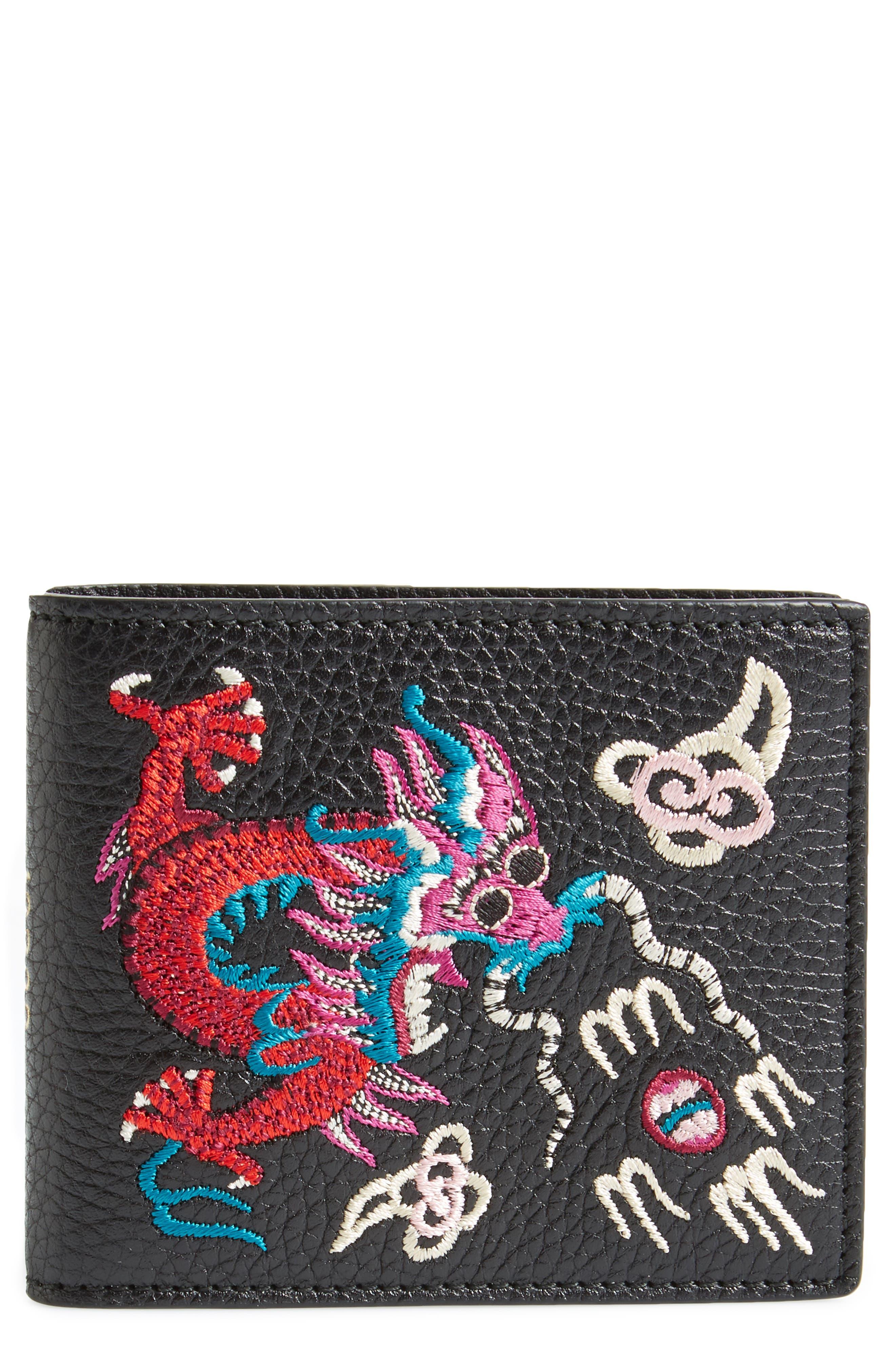 Dragon Leather Wallet,                             Main thumbnail 1, color,                             001