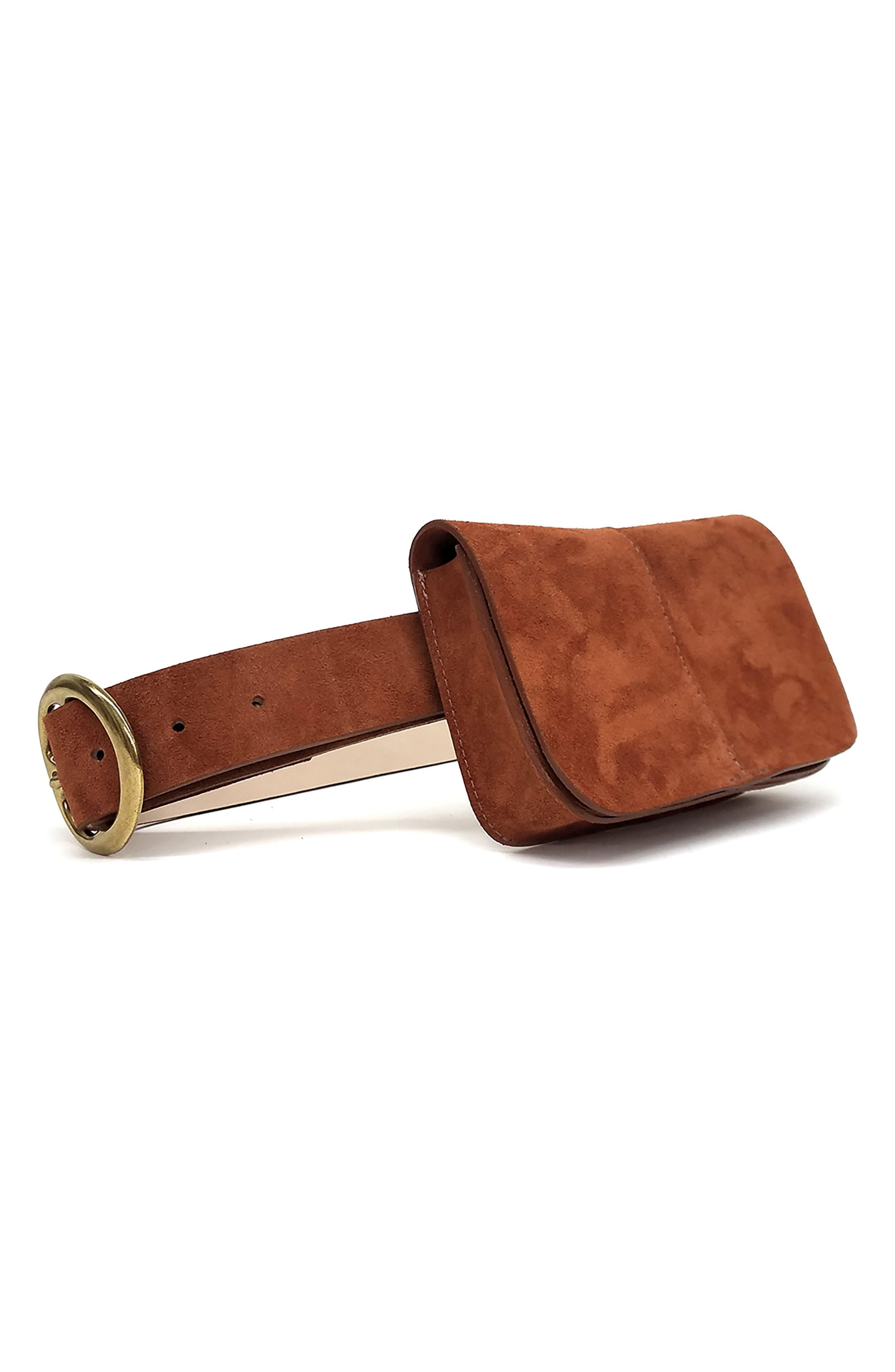 B-Low The Belt Sidney Suede Belt Bag, Cognac/ Brass