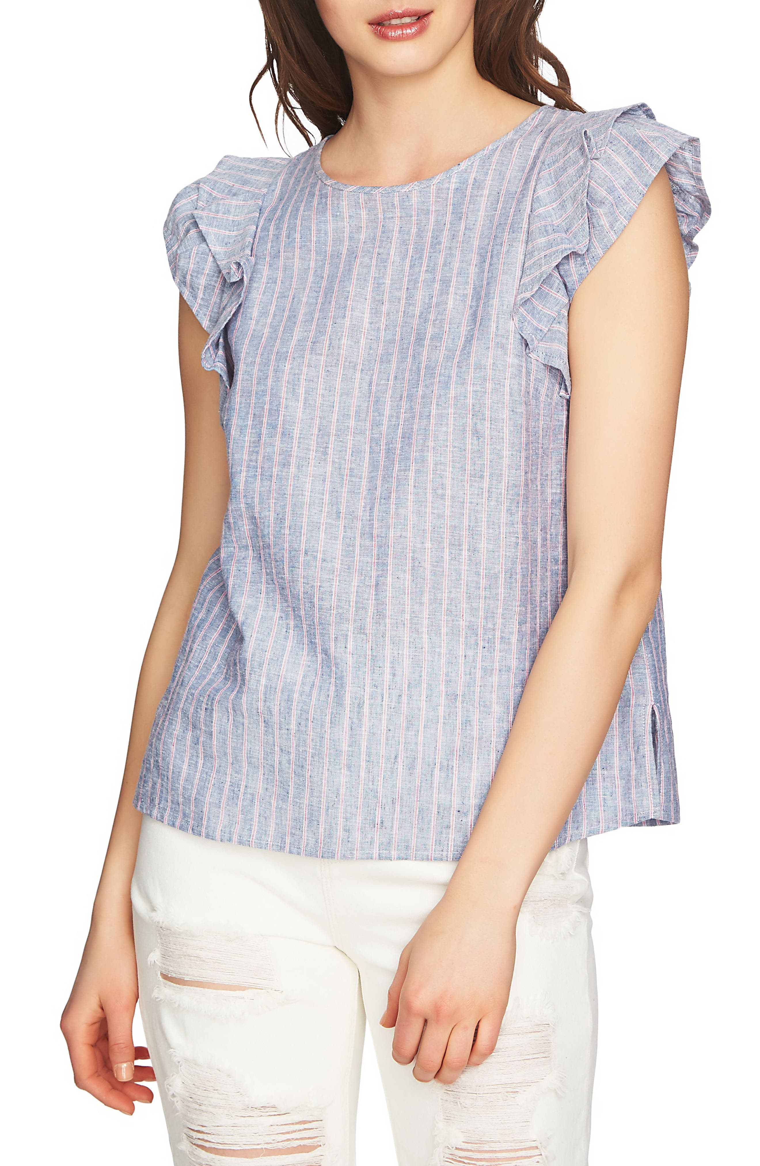 Flounce Sleeve Linen Top,                         Main,                         color, 090
