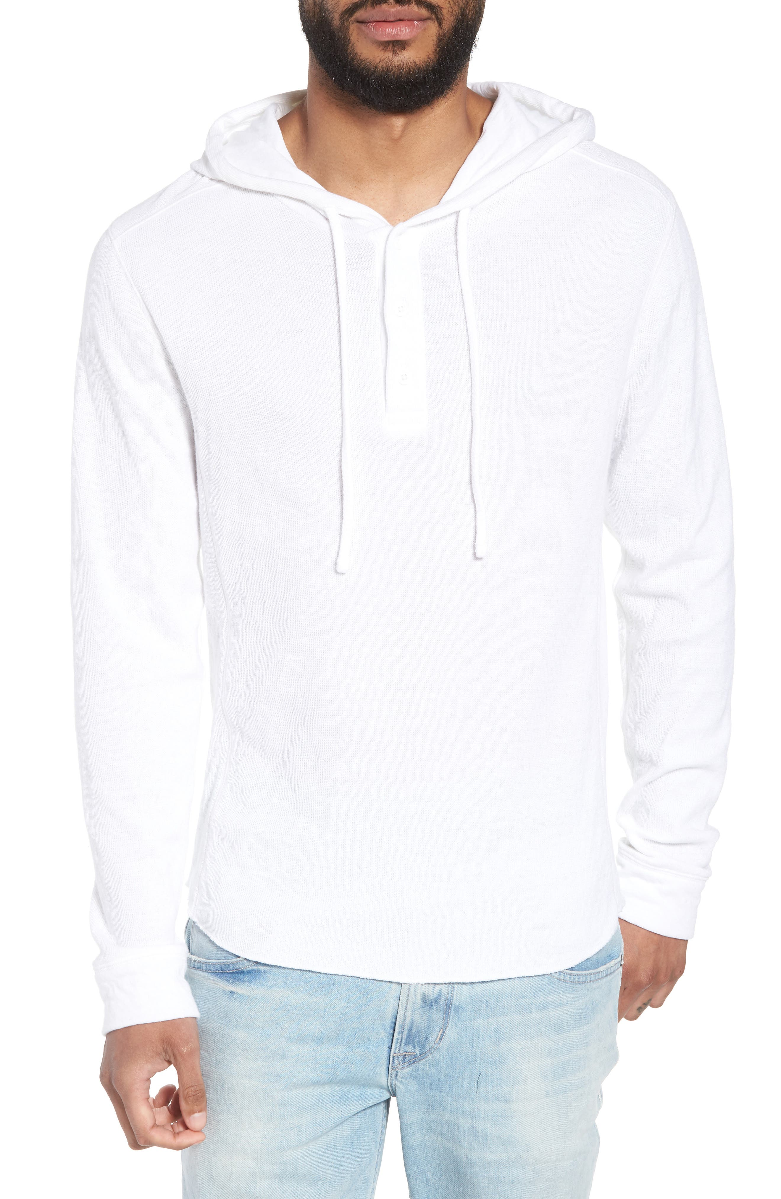 Slim Fit Hooded Henley,                         Main,                         color, 100