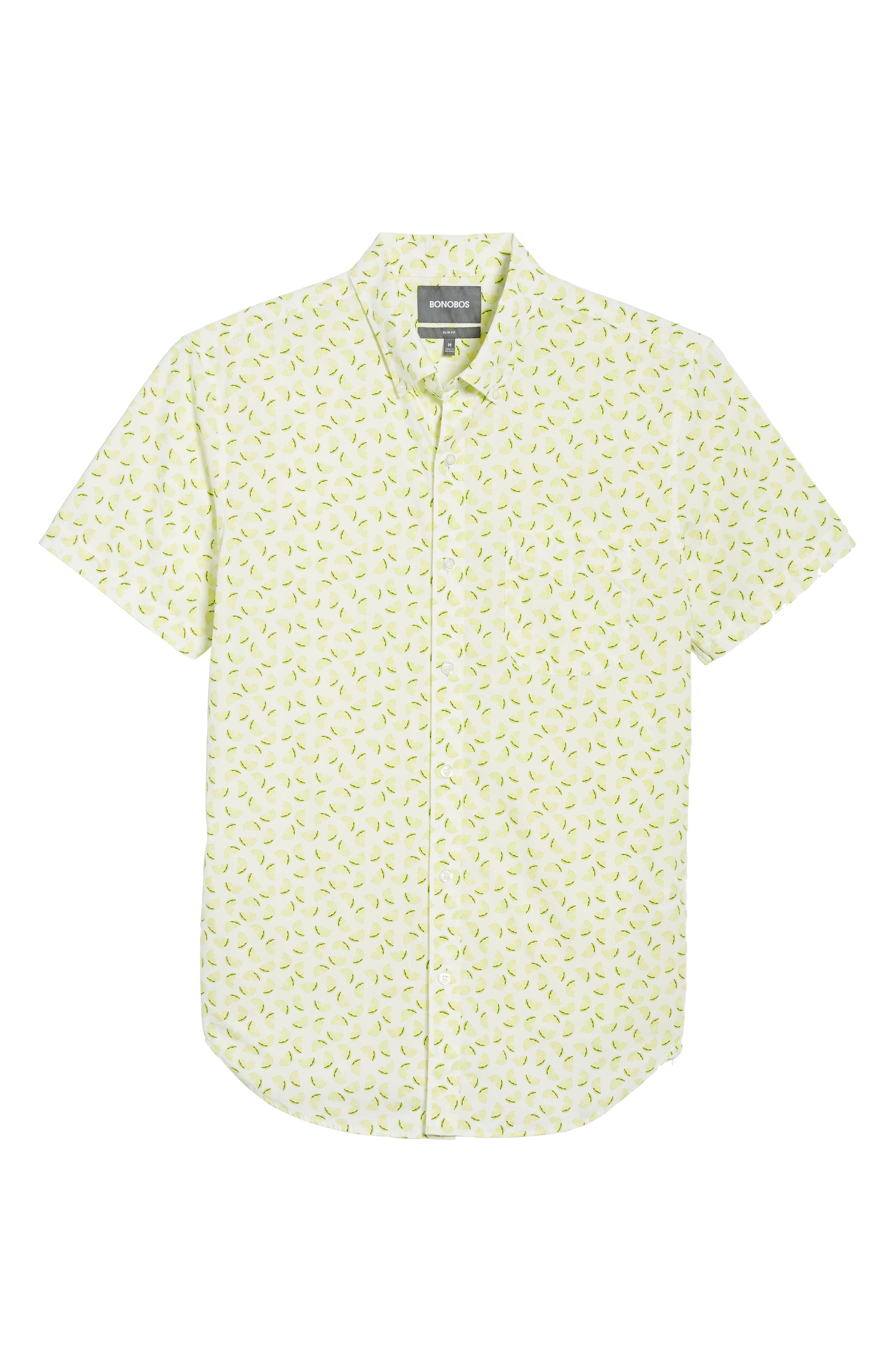 Slim Fit Citrus Print Sport Shirt,                             Alternate thumbnail 6, color,
