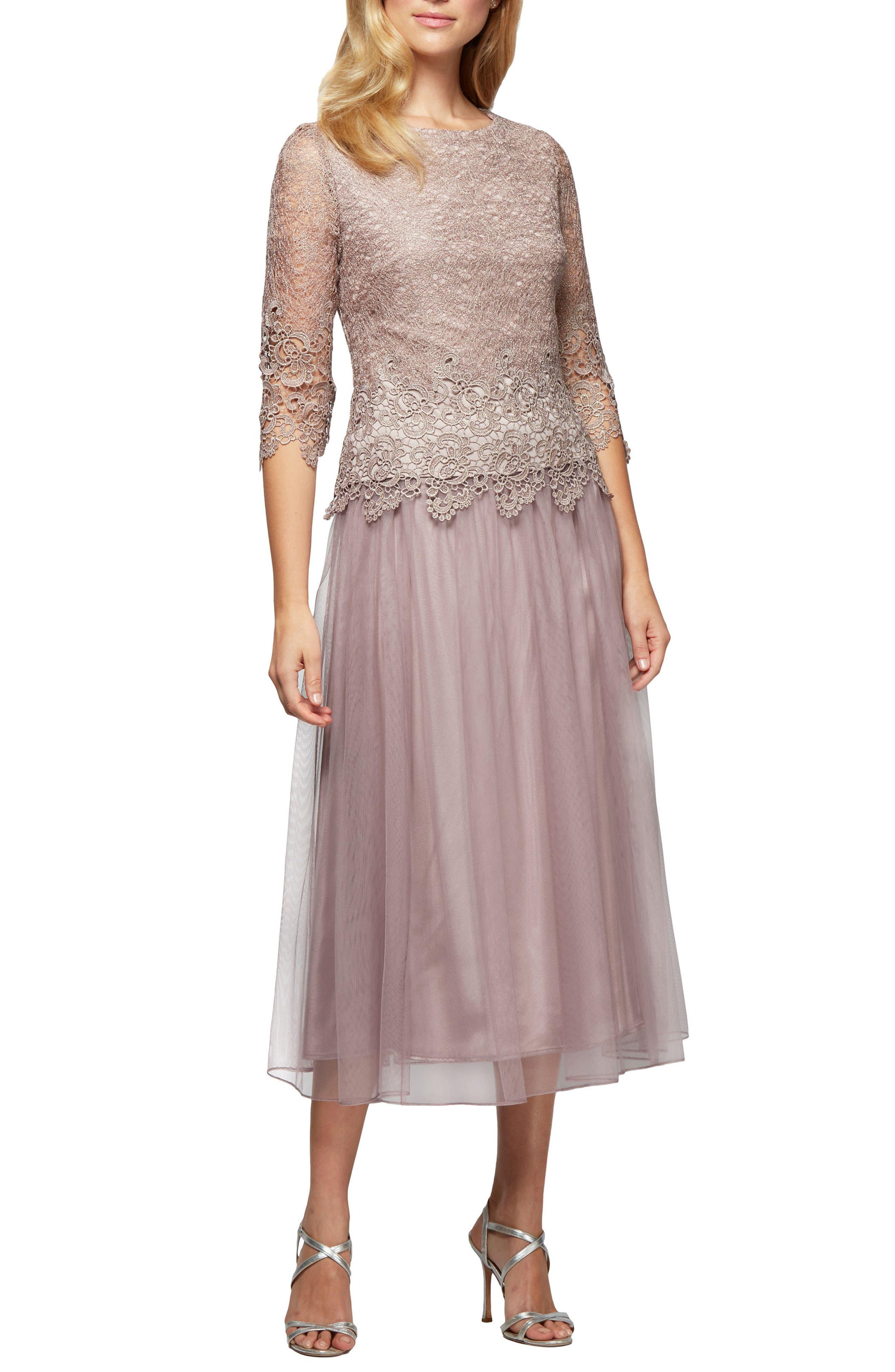 Mock Two-Piece Tea Length Dress,                             Main thumbnail 1, color,                             695