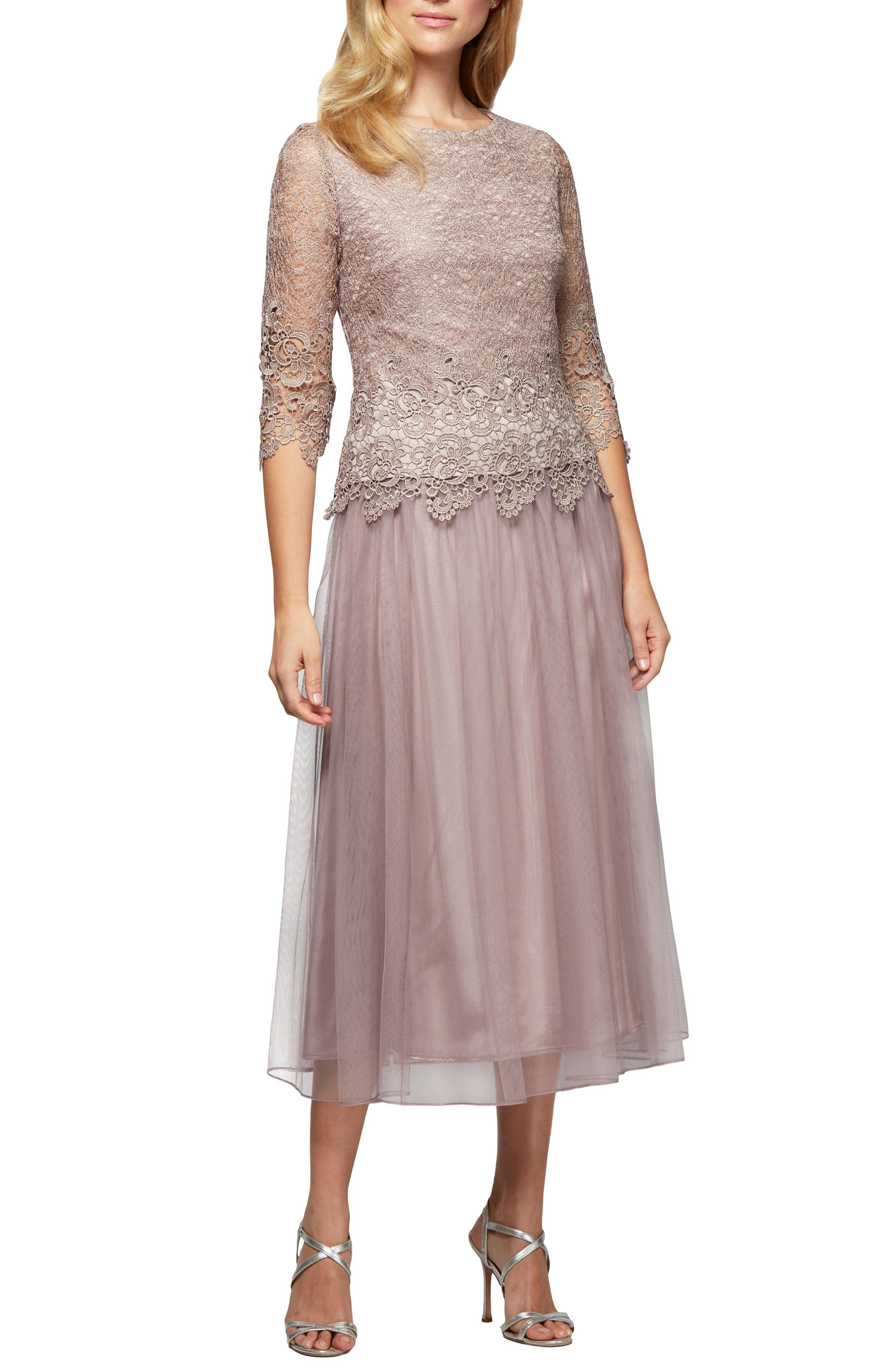Mock Two-Piece Tea Length Dress,                         Main,                         color, 695