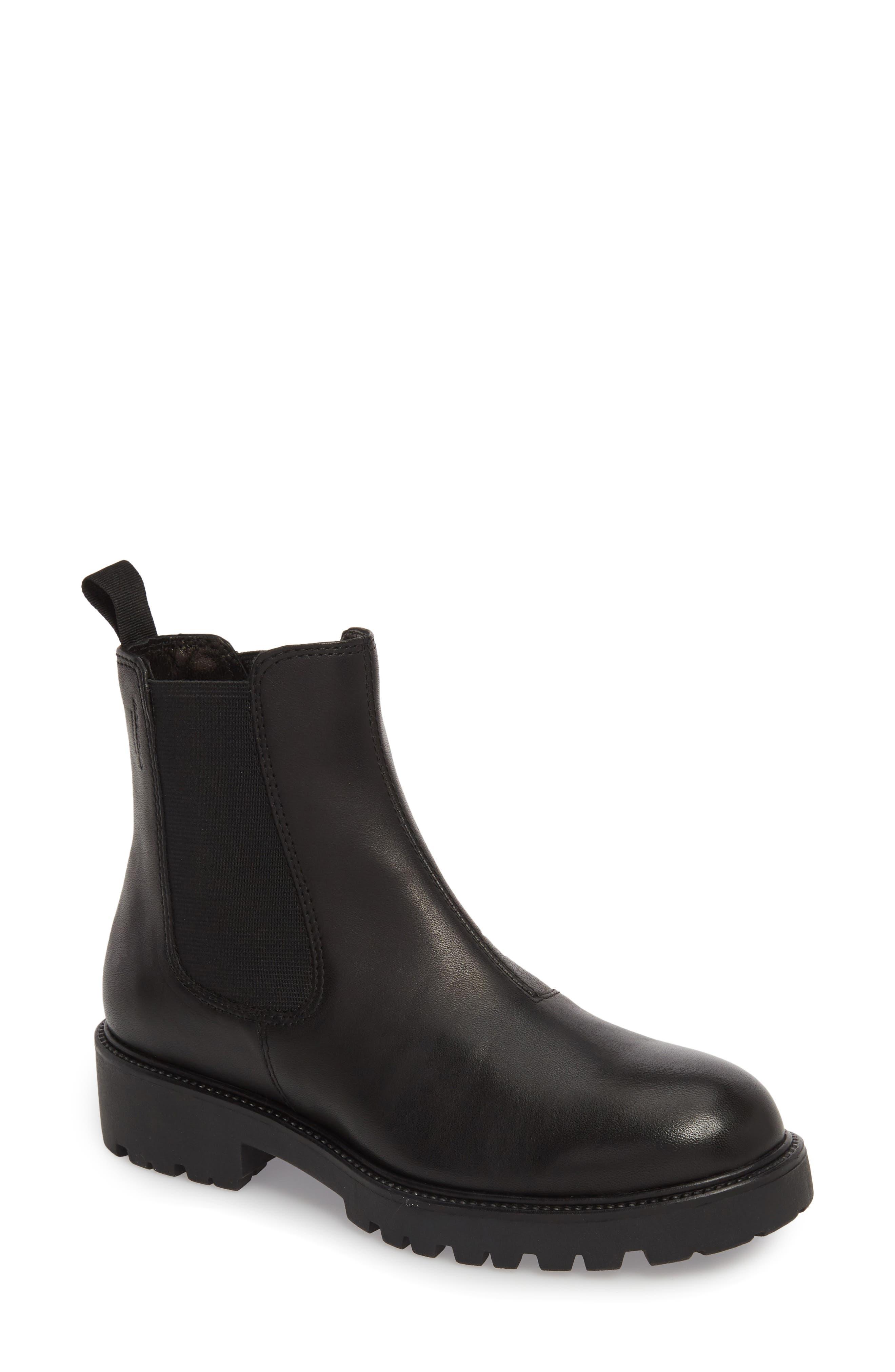 Kenova Lugged Chelsea Boot,                             Main thumbnail 1, color,                             BLACK LEATHER