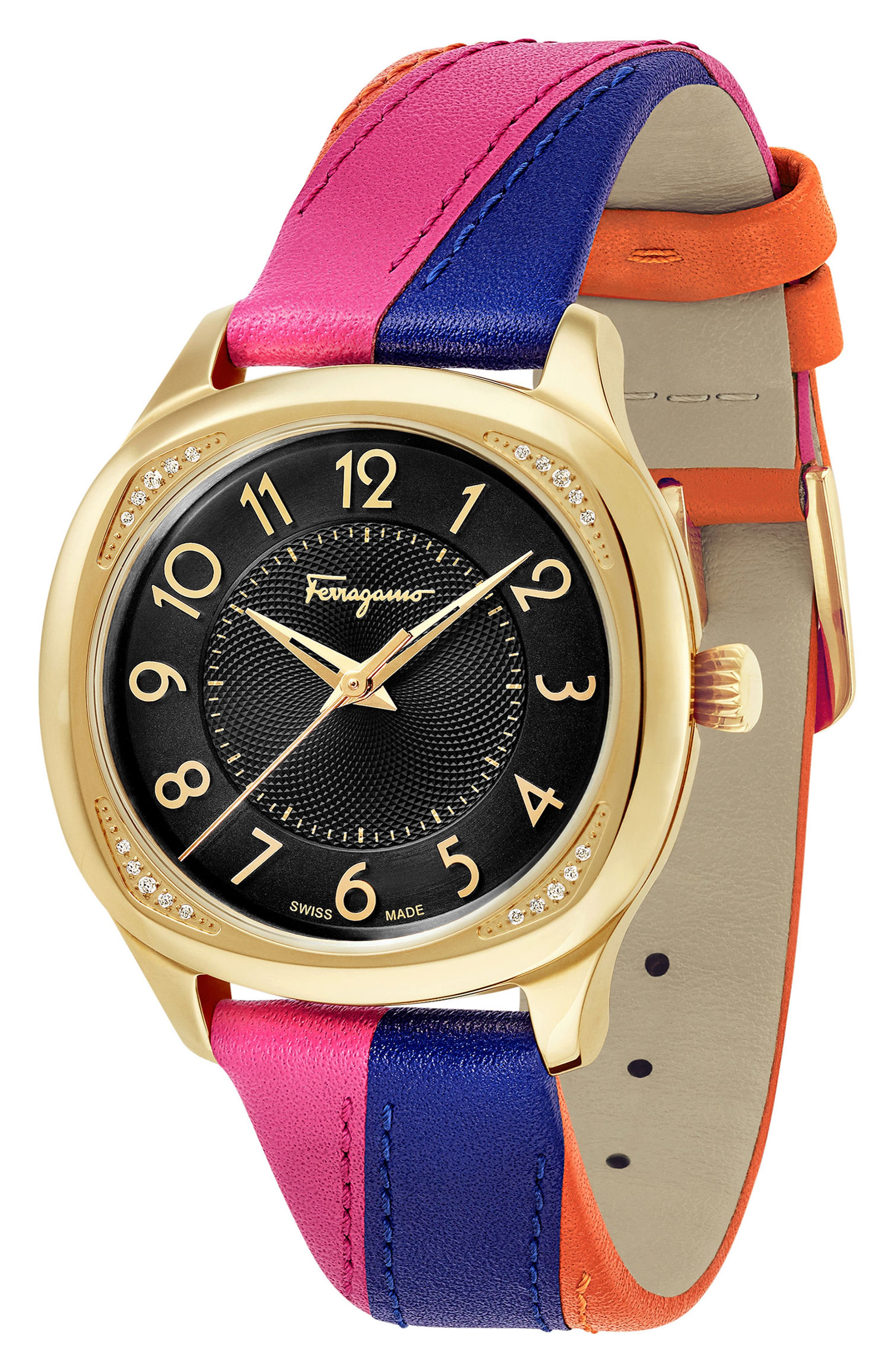 Time Square Leather Strap Watch, 36mm,                             Alternate thumbnail 5, color,                             MULTI/ BLACK/ GOLD