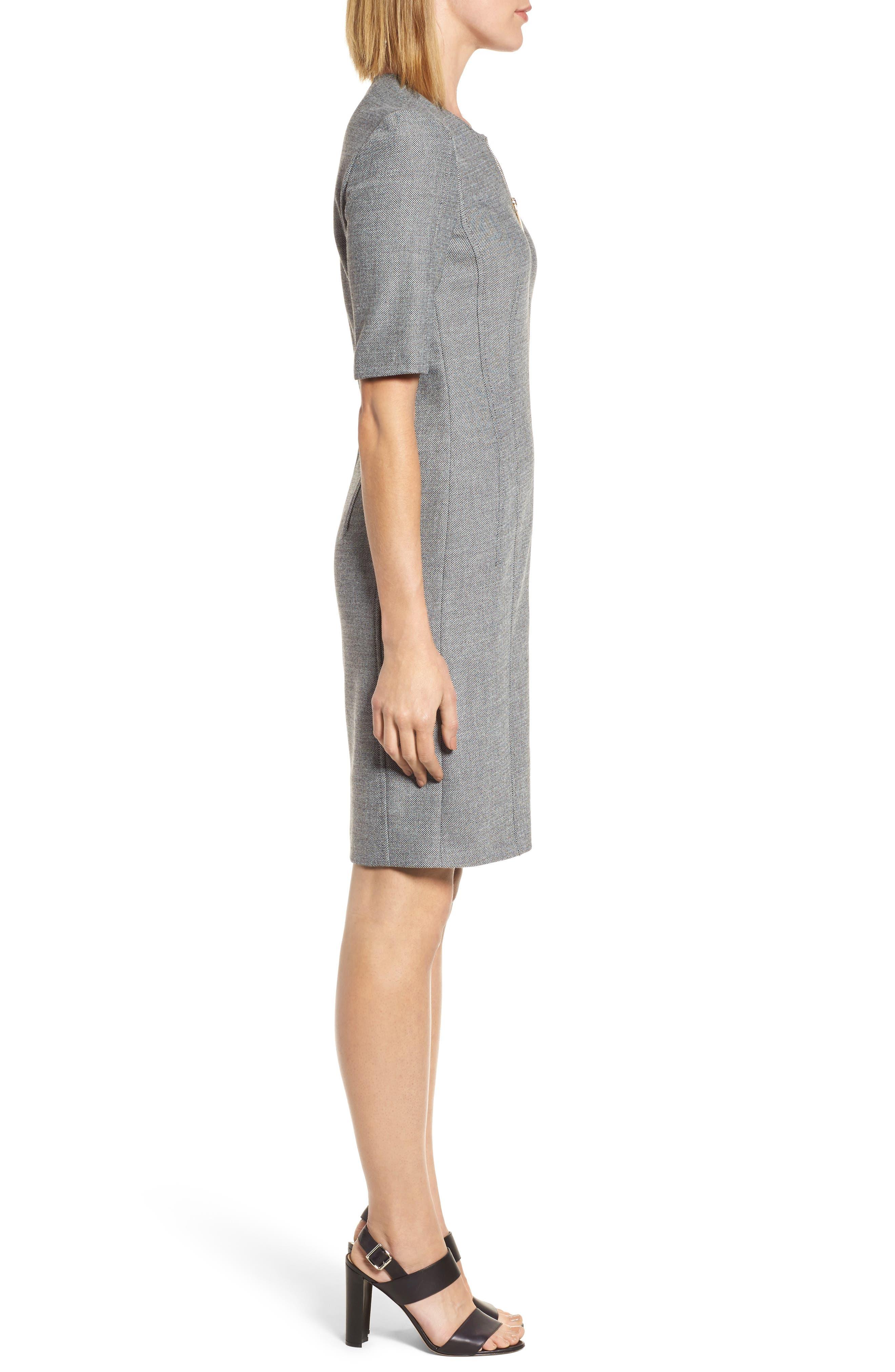 Demirana Zip Front Sheath Dress,                             Alternate thumbnail 3, color,