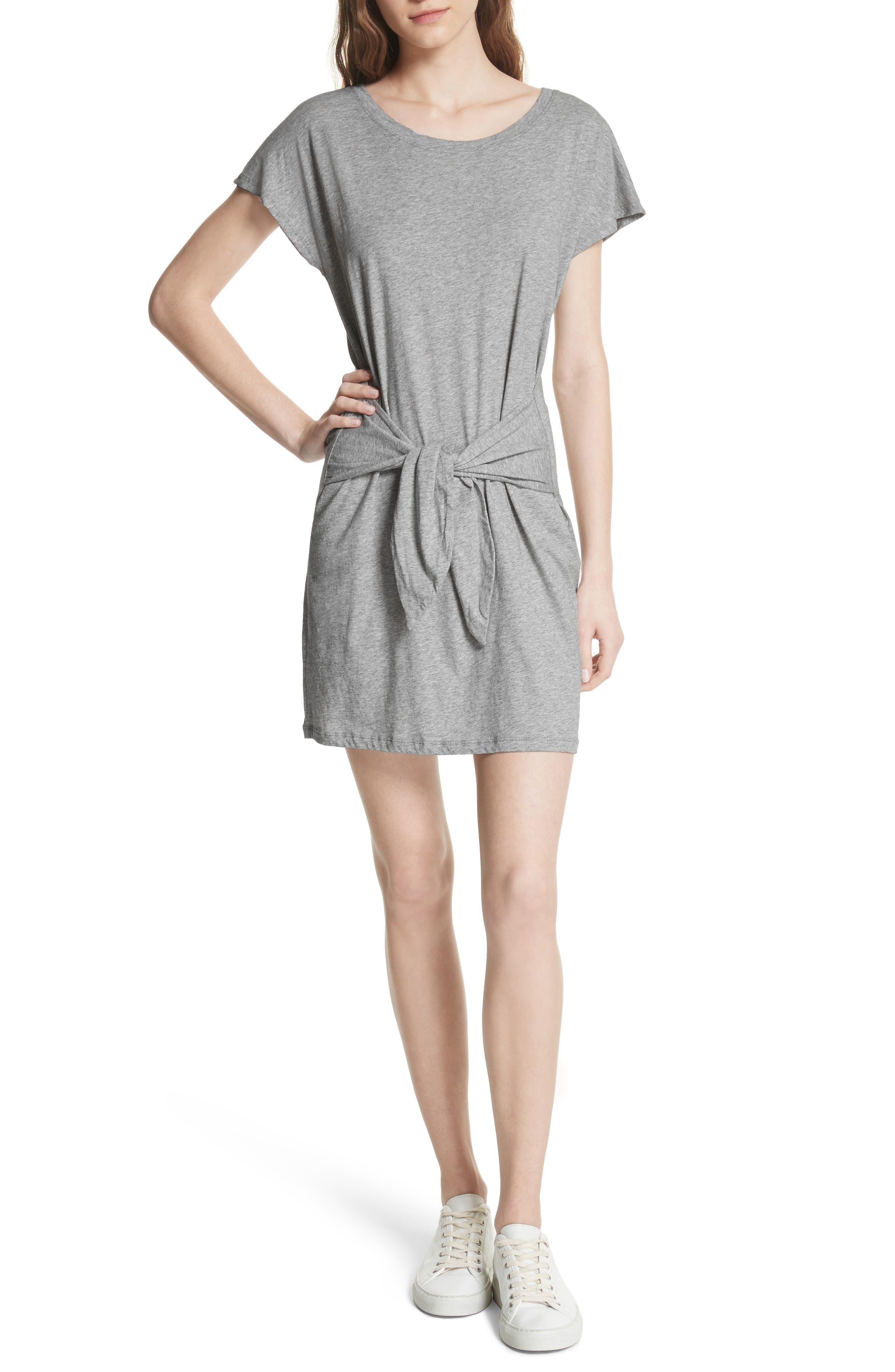 Alyra Tie Waist Cotton T-Shirt Dress,                         Main,                         color, 030