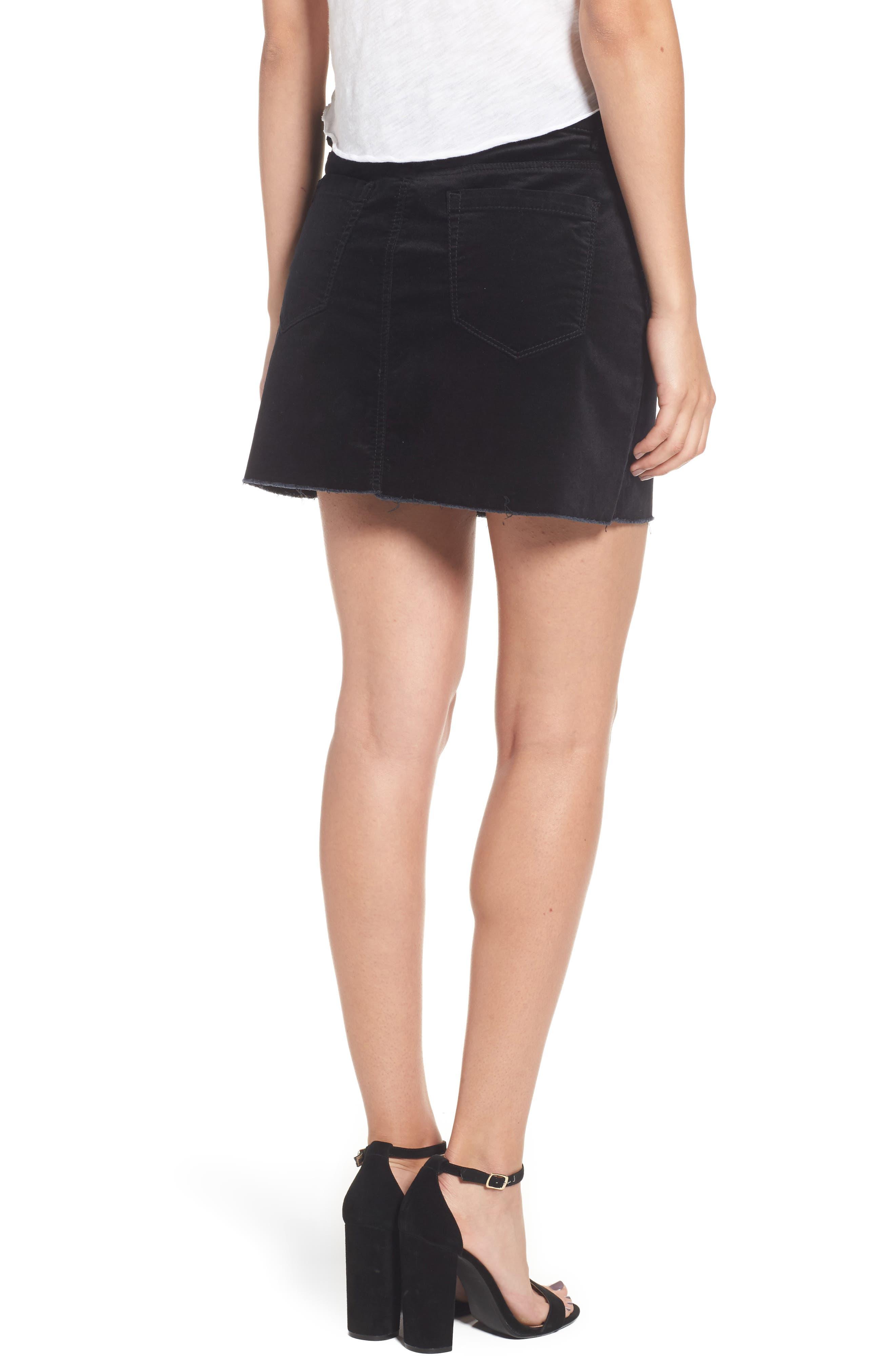 Raw Edge Miniskirt,                             Alternate thumbnail 2, color,                             001