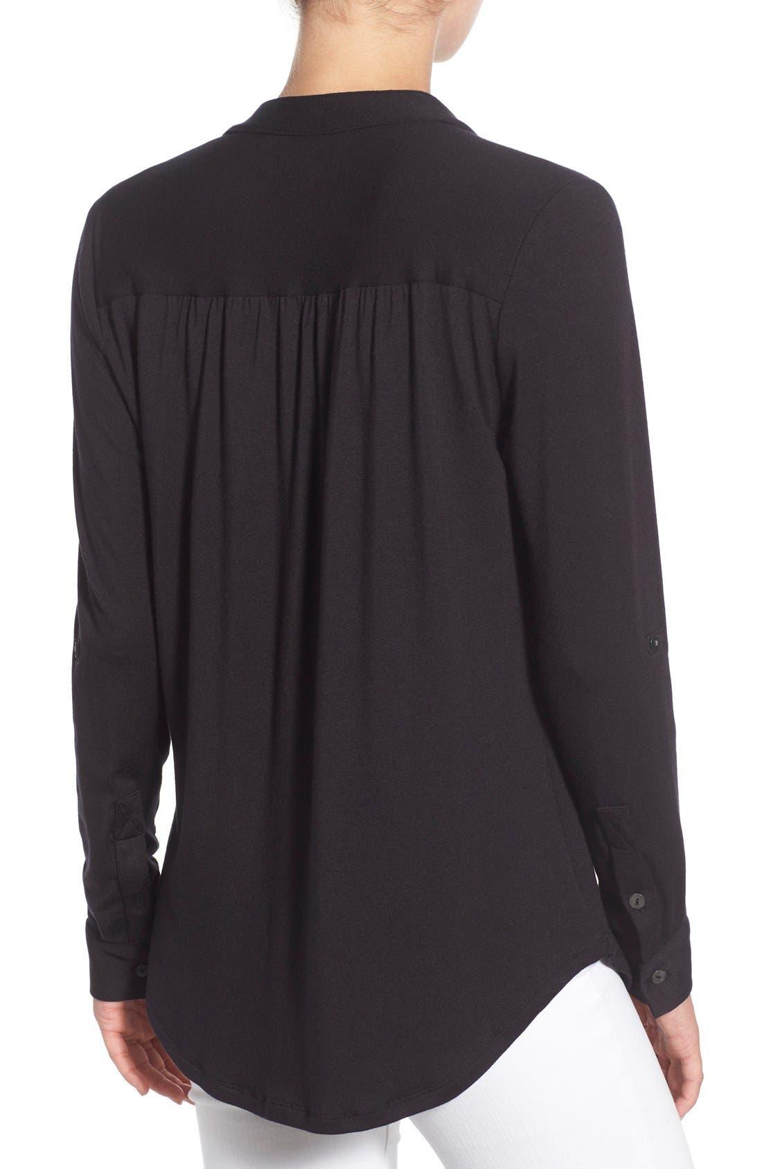'Elena' Roll Tab Sleeve Top,                             Alternate thumbnail 2, color,                             BLACK