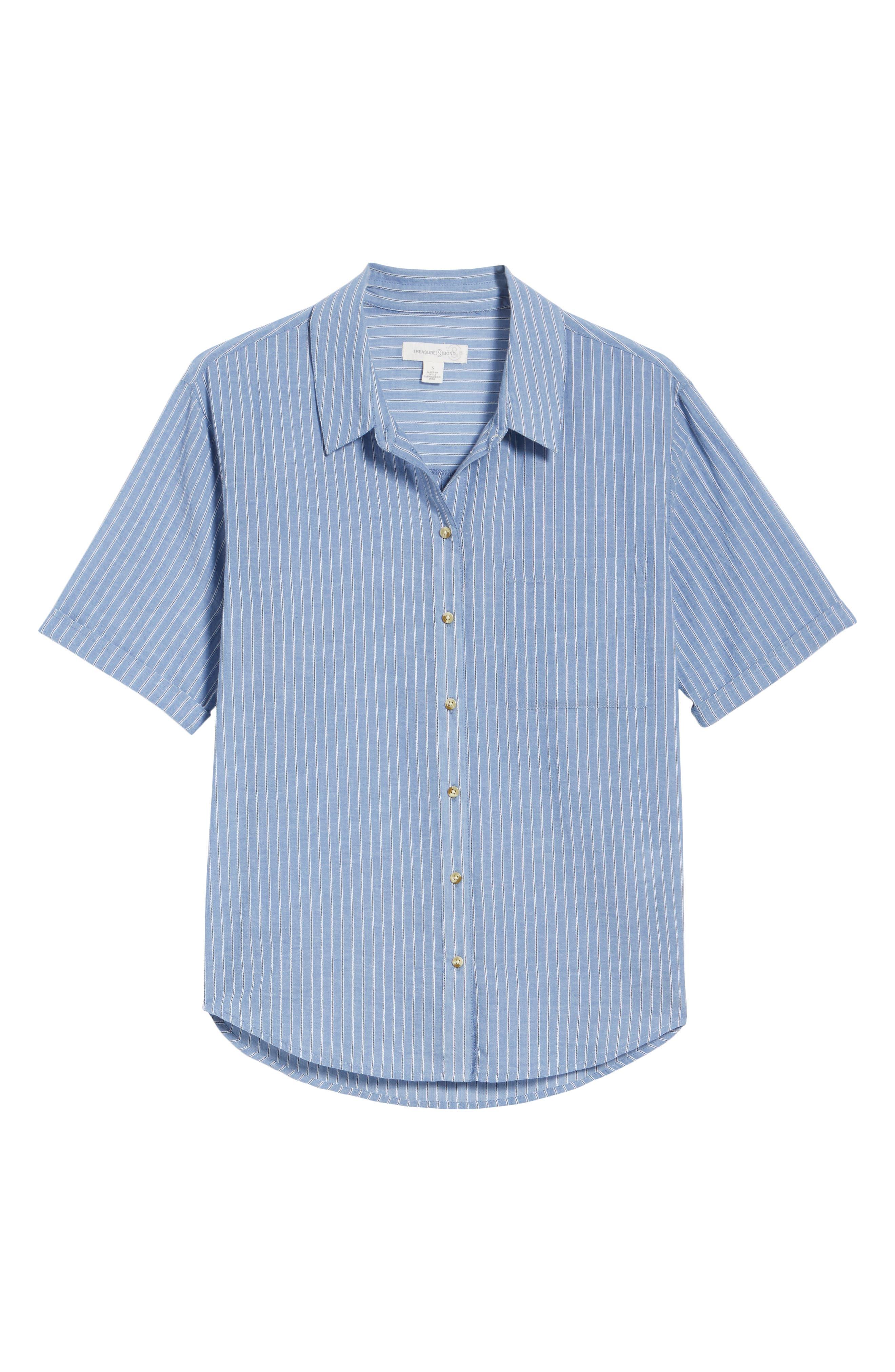 Stripe Button Front Shirt,                             Alternate thumbnail 6, color,                             BLUE AIRY STRIPE