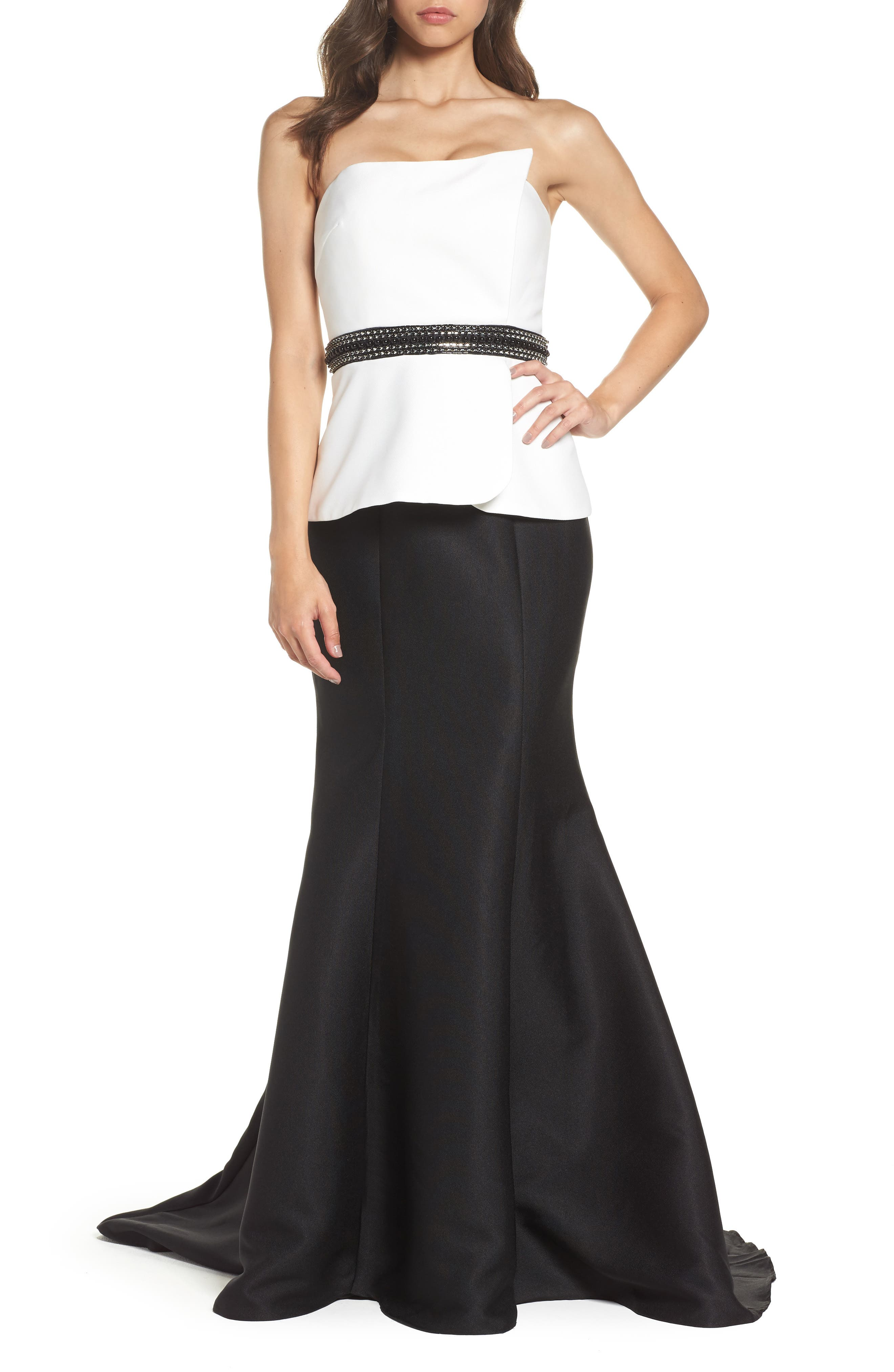 Color Block Strapless Mermaid Gown,                             Main thumbnail 1, color,                             BLACK/ WHITE