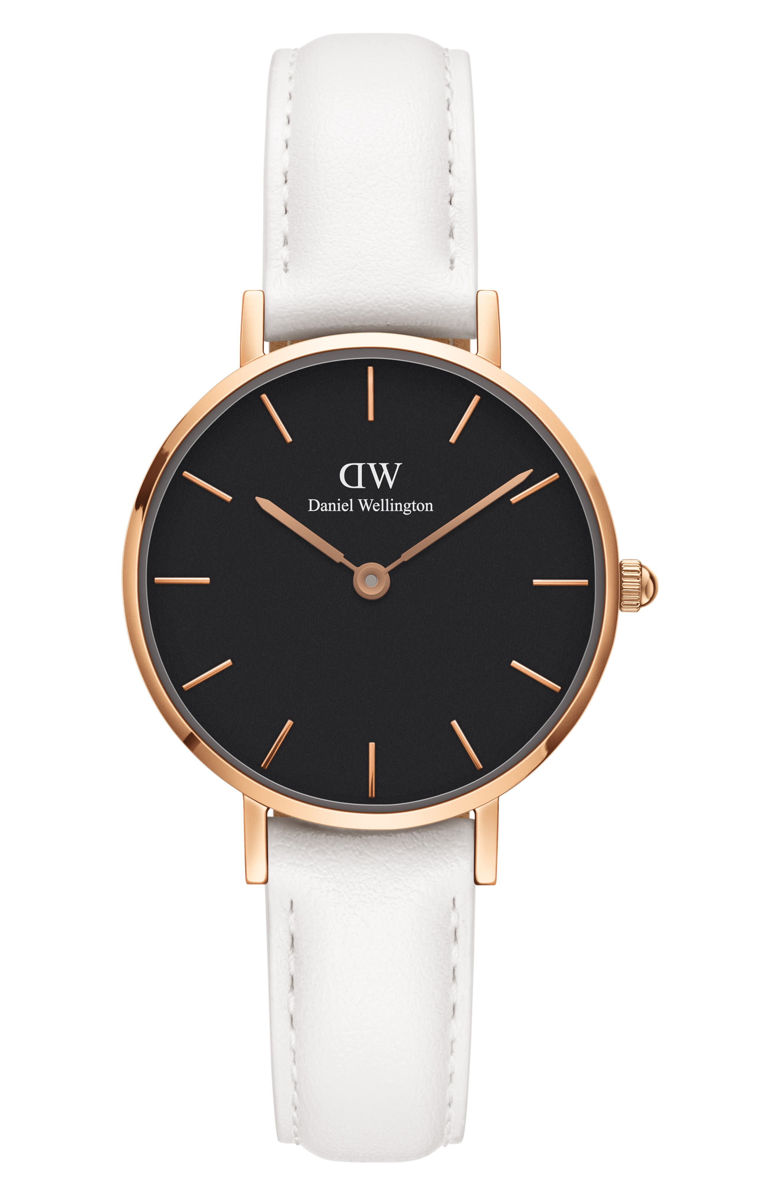 Classic Petite Leather Strap Watch, 28mm, Main, color, WHITE/ BLACK/ ROSE GOLD