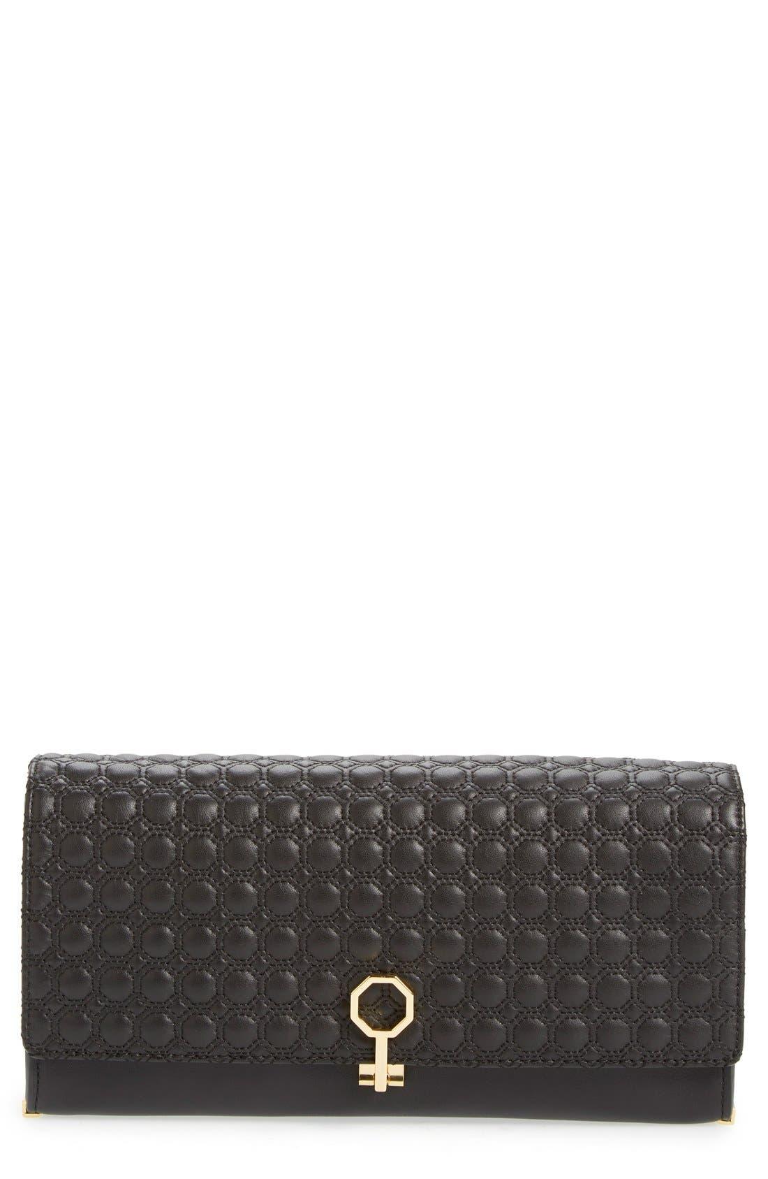 'Yvet' Leather Flap Clutch,                             Main thumbnail 2, color,