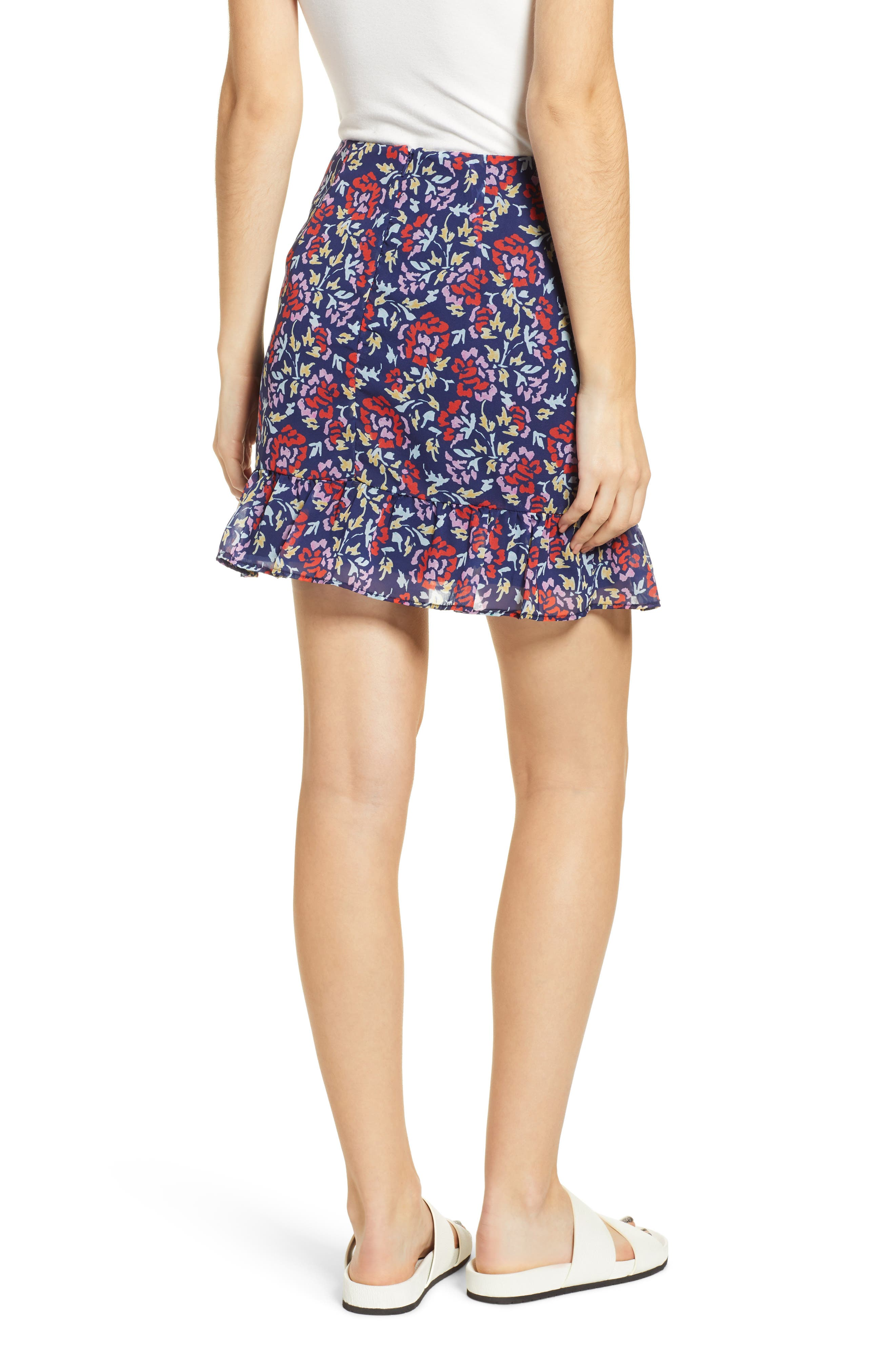 THE FIFTH LABEL,                             Ruched Floral Print Miniskirt,                             Alternate thumbnail 2, color,                             NAVY/ SCARLET WATERCOLOR