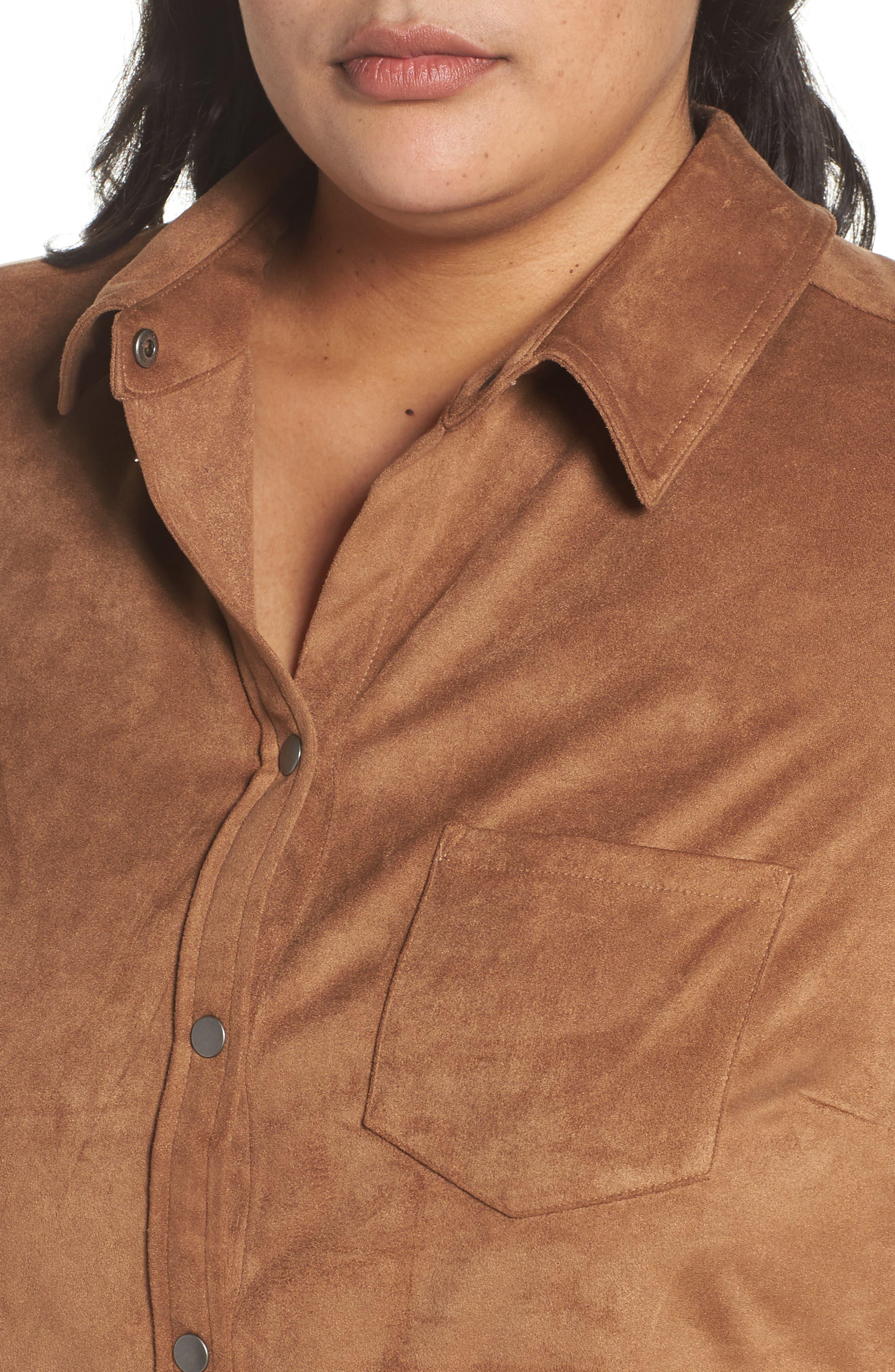 Jena Faux Suede Shirt,                             Alternate thumbnail 4, color,                             CAMEL