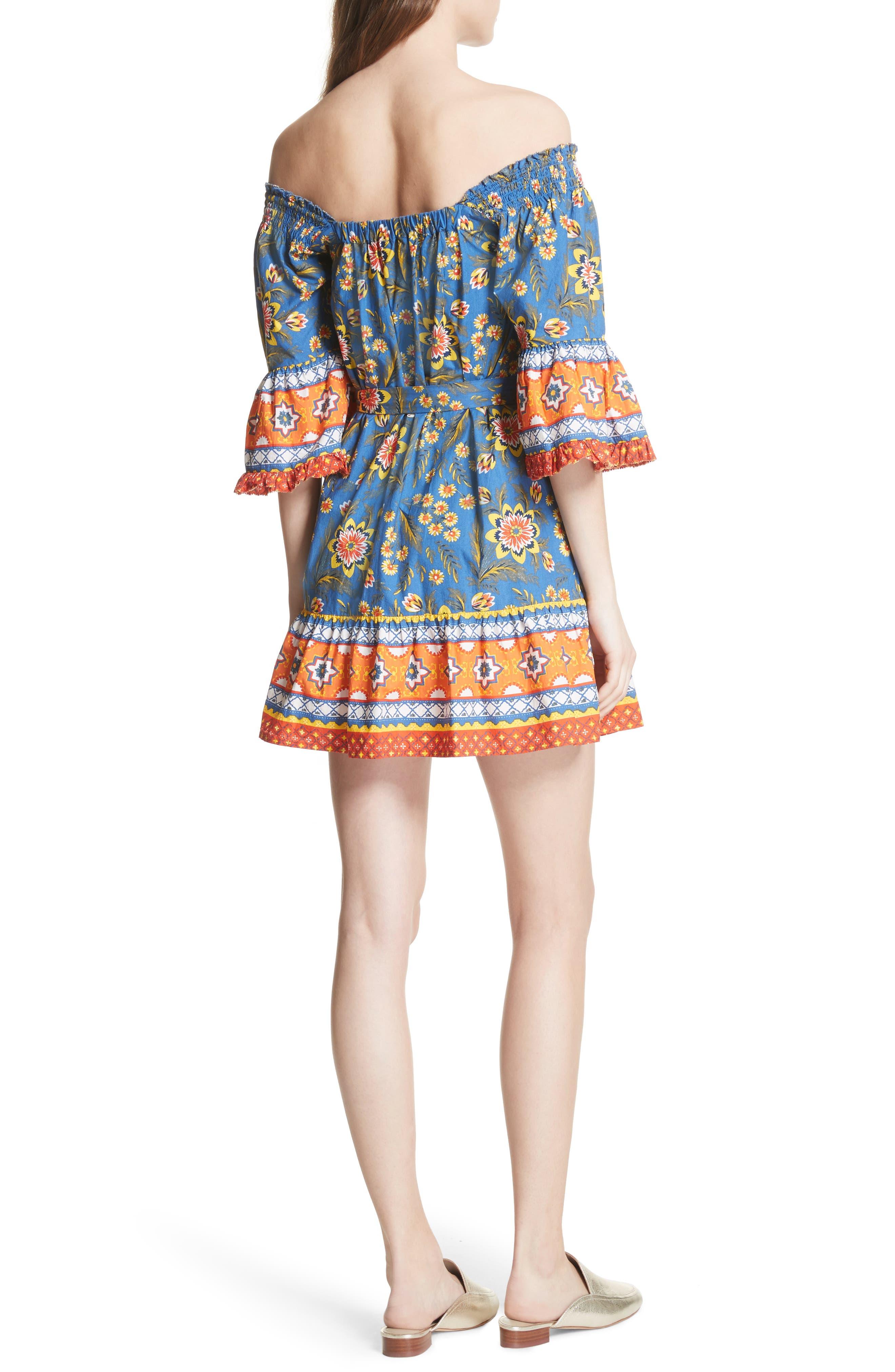 Chloris Off the Shoulder Cotton Dress,                             Alternate thumbnail 2, color,                             BAJA BLUE