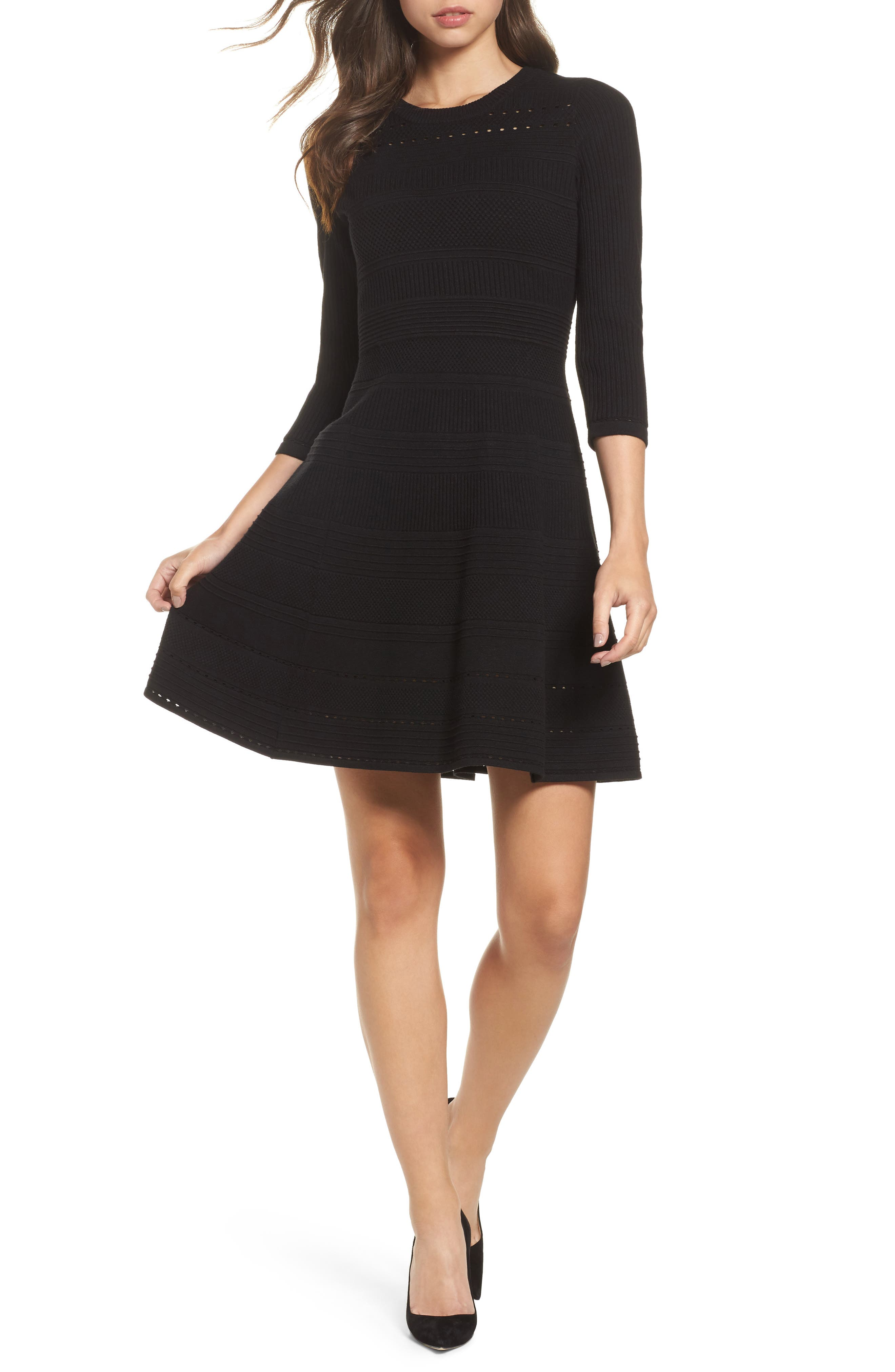 Fit & Flare Sweater Dress,                             Main thumbnail 1, color,                             BLACK