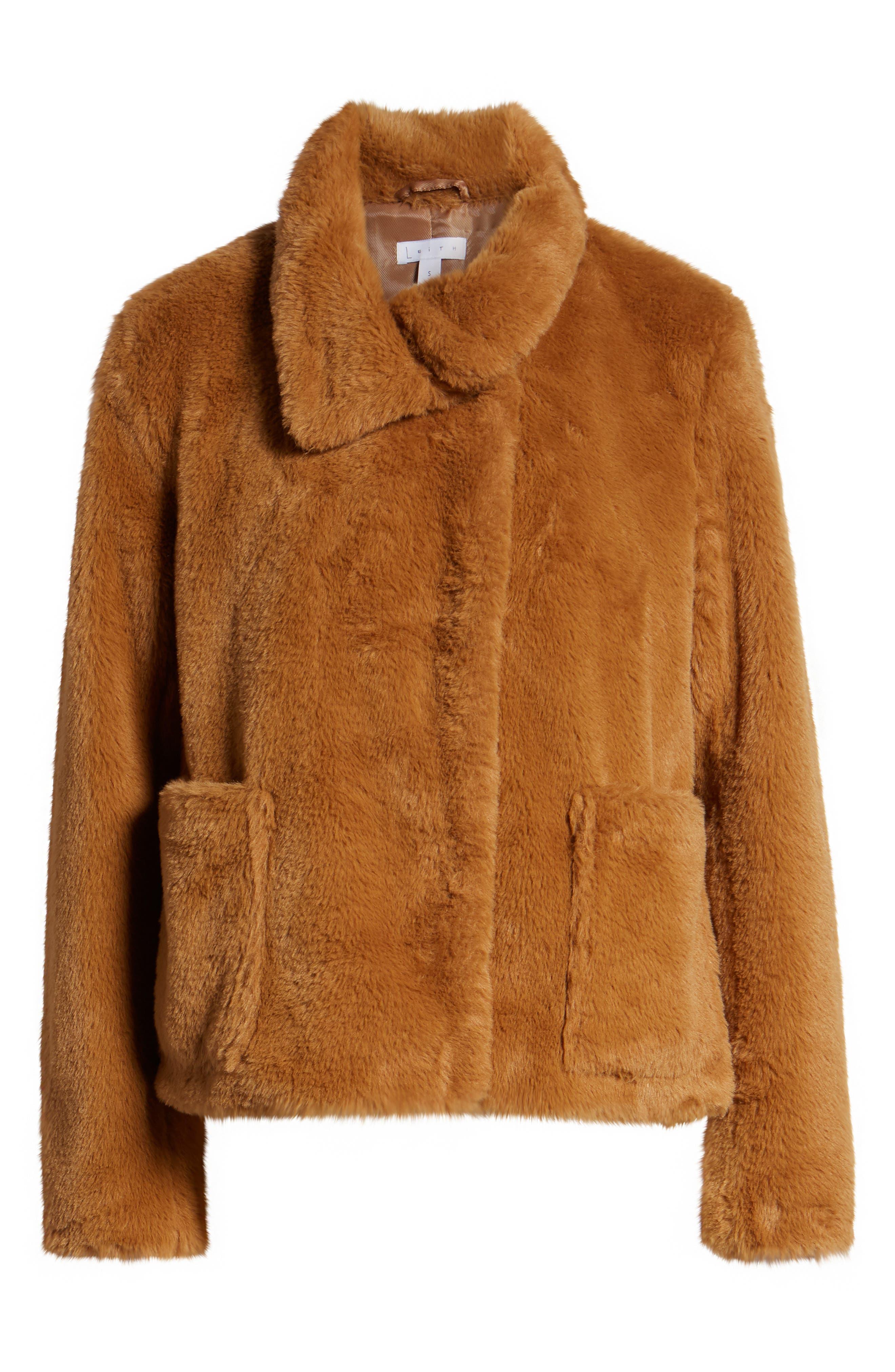 Fur-Fect Faux Fur Jacket,                             Alternate thumbnail 6, color,                             TAN DALE