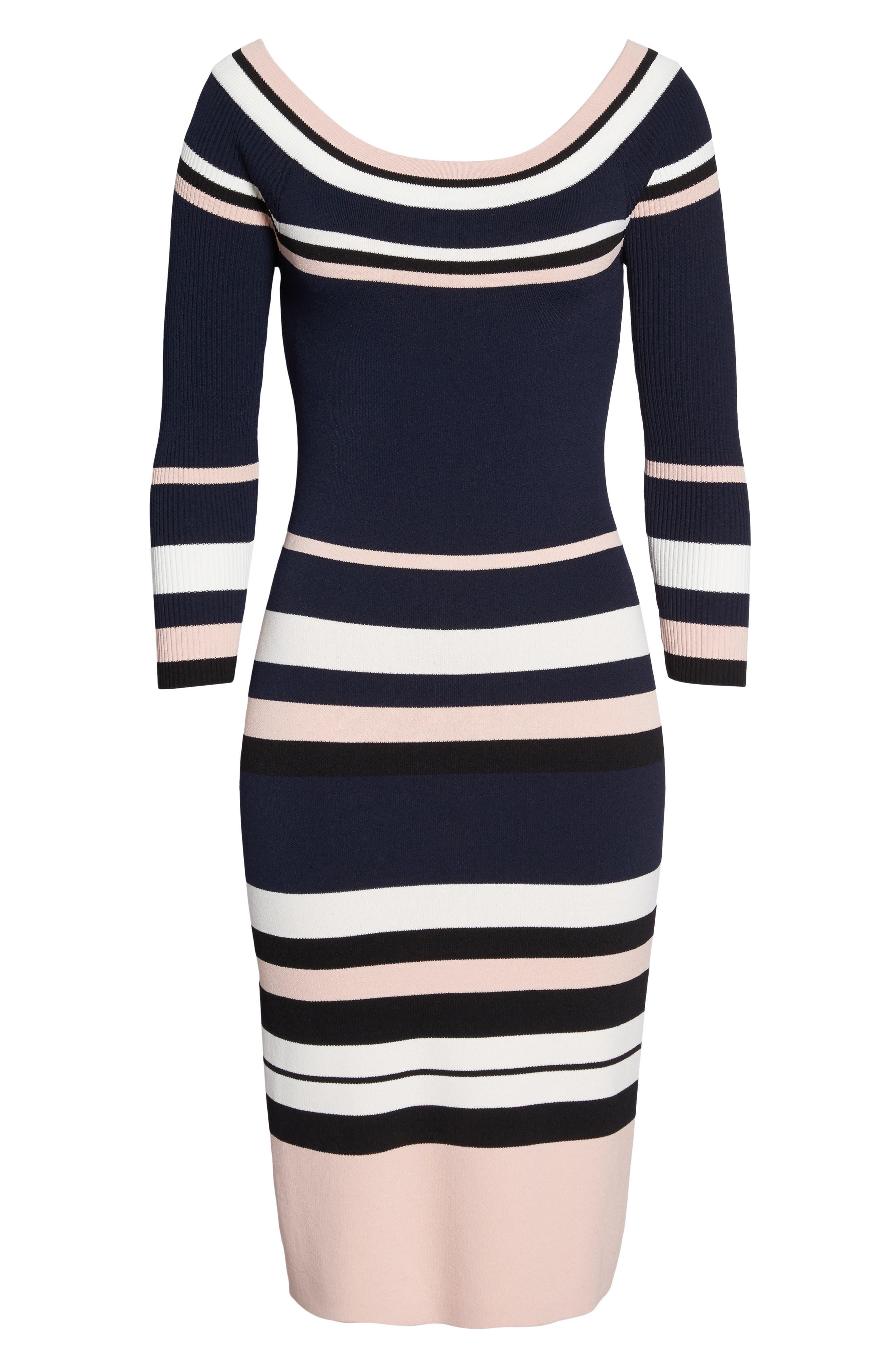 Stripe Sweater Dress,                             Alternate thumbnail 6, color,                             498