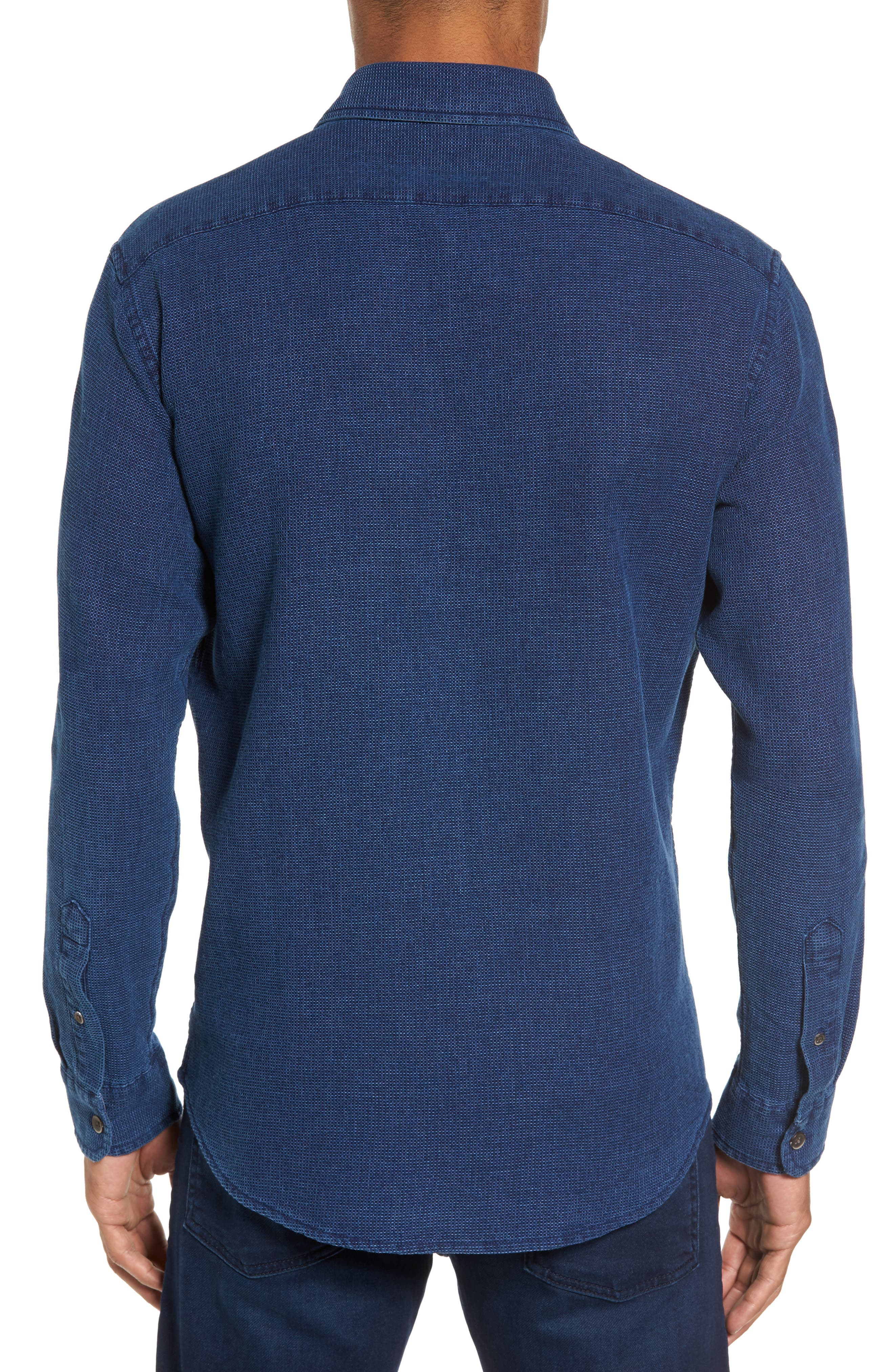 Regular Fit Indigo Waffle Sport Shirt,                             Alternate thumbnail 2, color,                             478