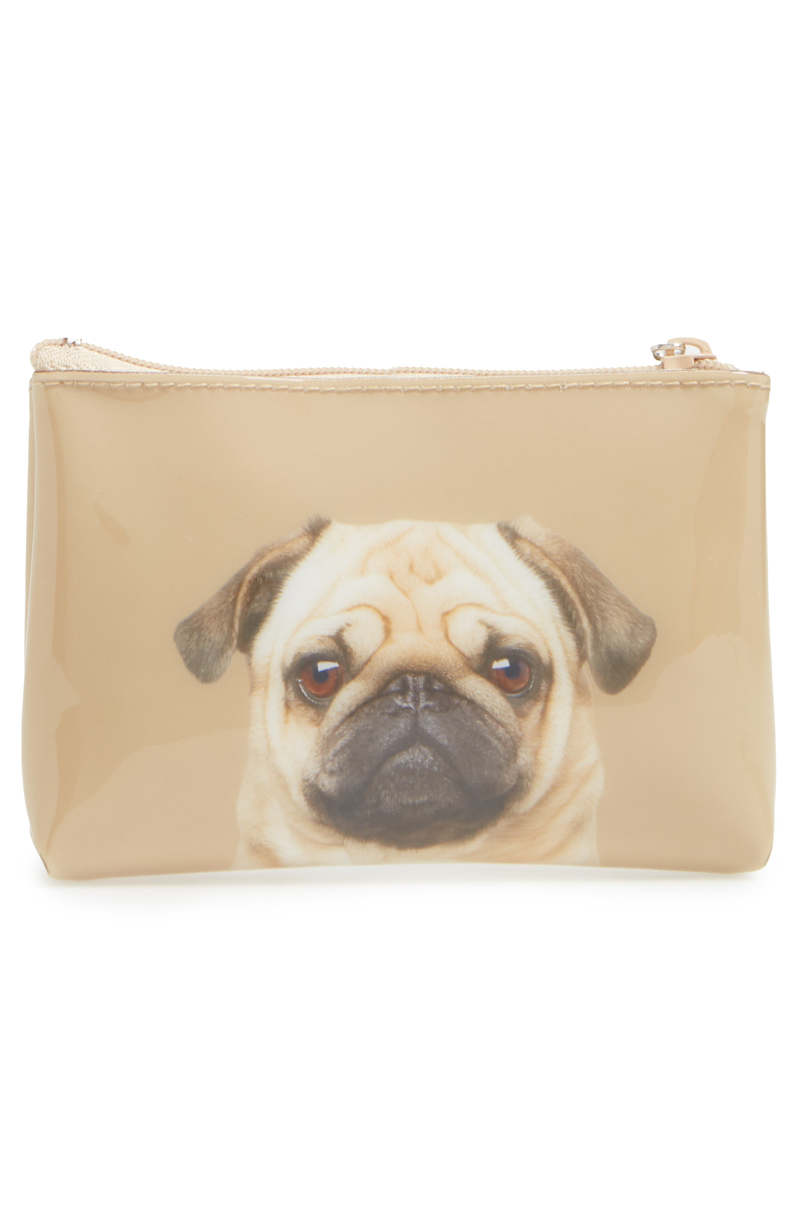 Caramel Pug Small Zip Pouch,                             Alternate thumbnail 2, color,                             200