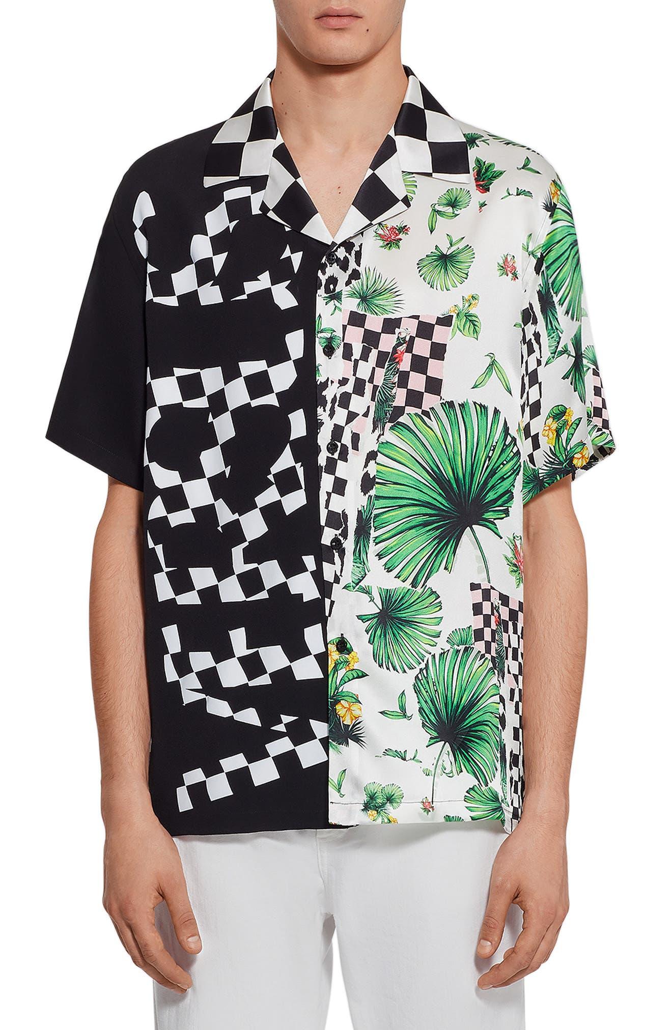 Check Print Camp Shirt,                             Main thumbnail 1, color,                             001