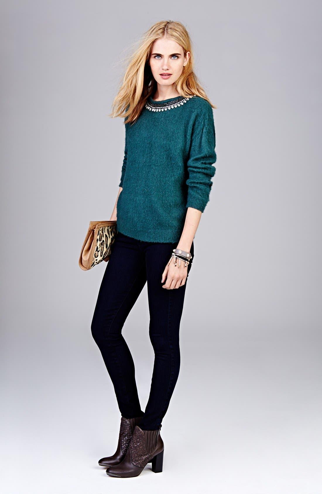 Jewel Neck Textured Sweater,                             Alternate thumbnail 5, color,                             020
