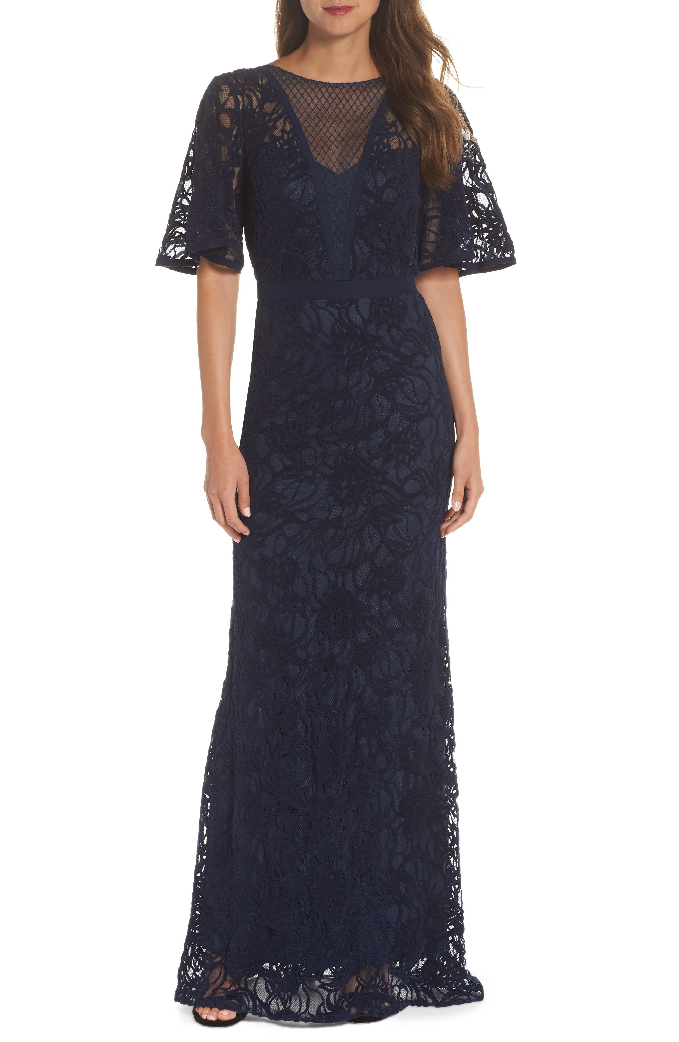 Burnout Lace Gown,                         Main,                         color, NAVY