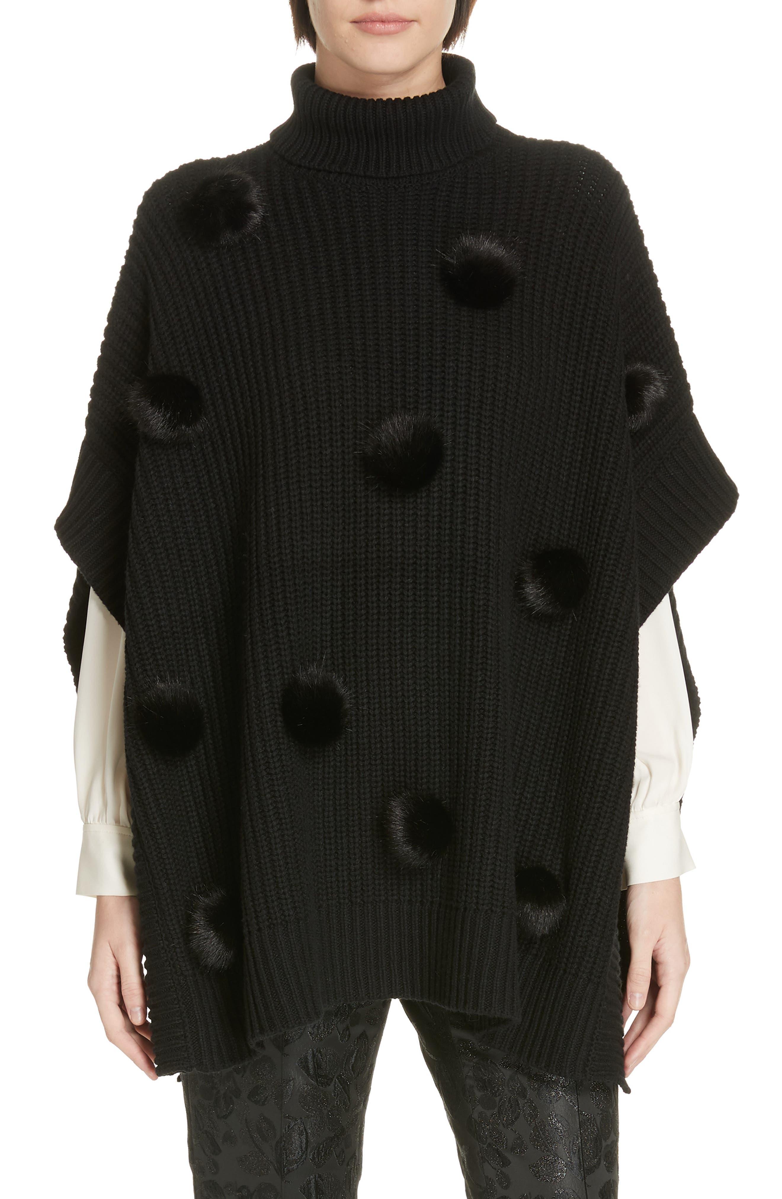 faux fur pom poncho,                             Main thumbnail 1, color,                             BLACK