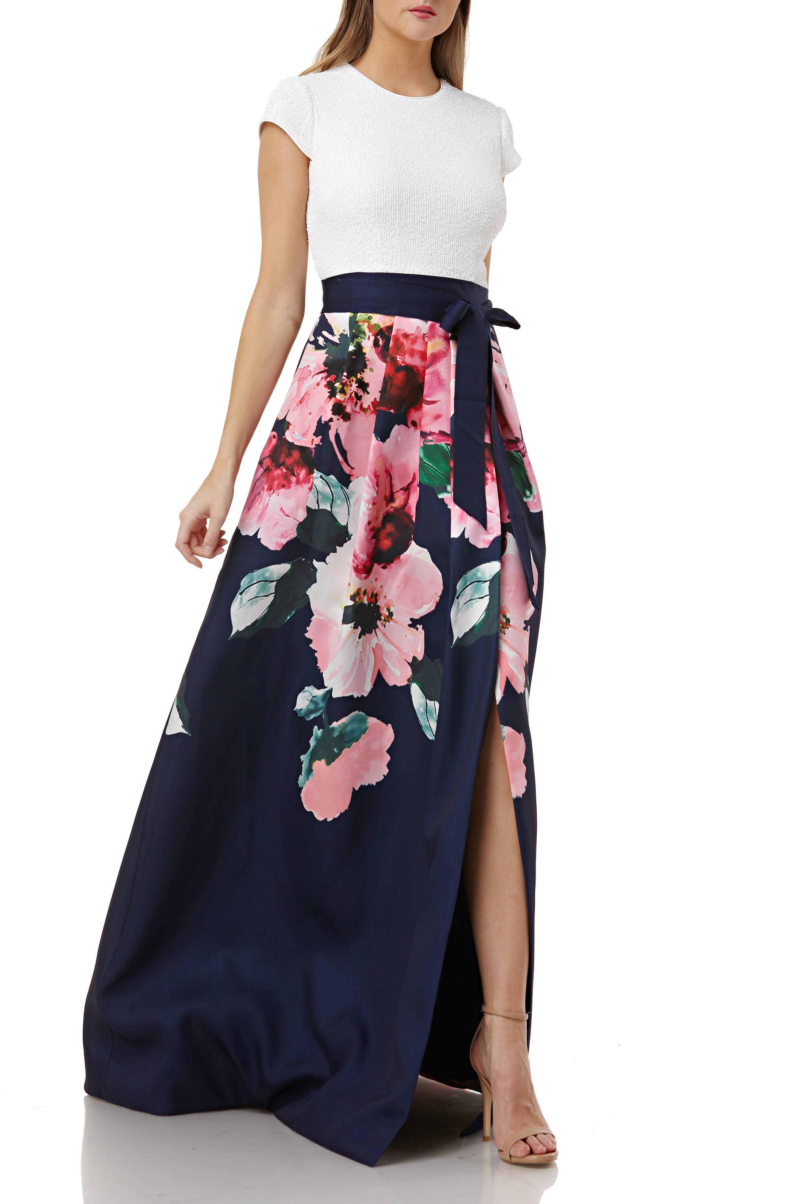 Carmen Marc Valvo Infusion Sequin Bodice Floral Skirt Evening Dress, Blue