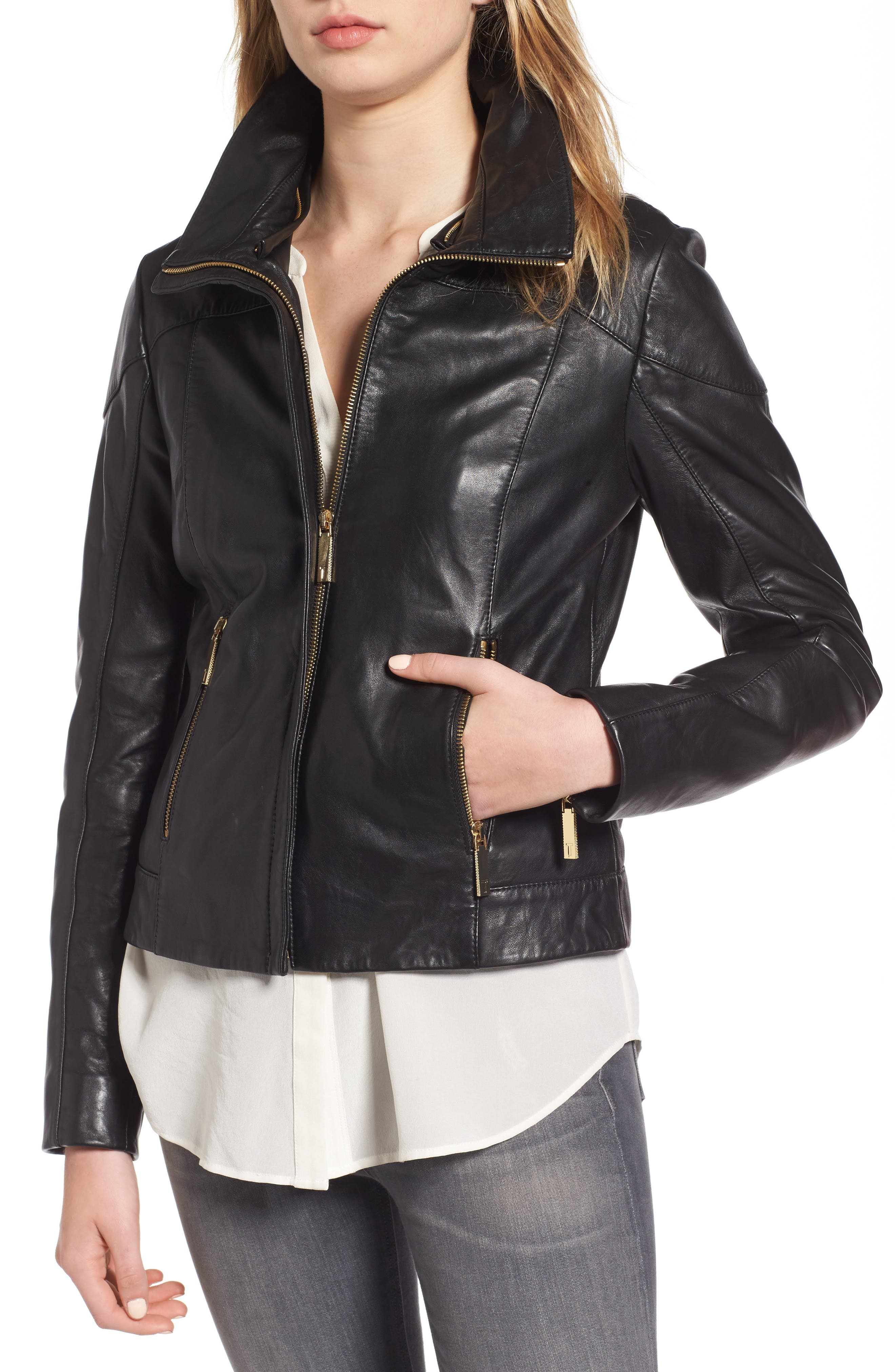 Leather Jacket with Detachable Genuine Shearling,                             Alternate thumbnail 4, color,                             001