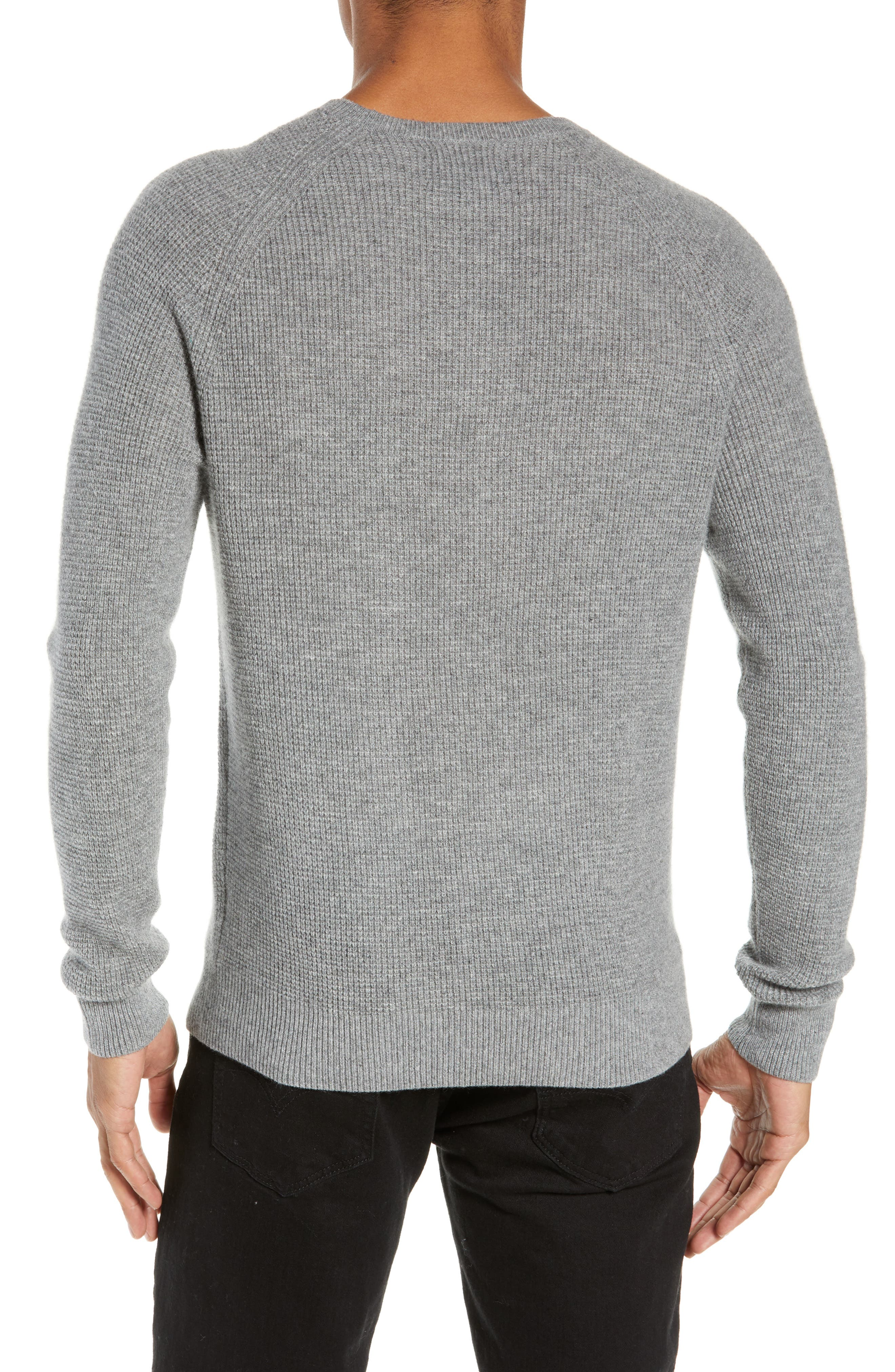 Cashmere Waffle Knit Pullover,                             Alternate thumbnail 2, color,                             GREY FILIGREE