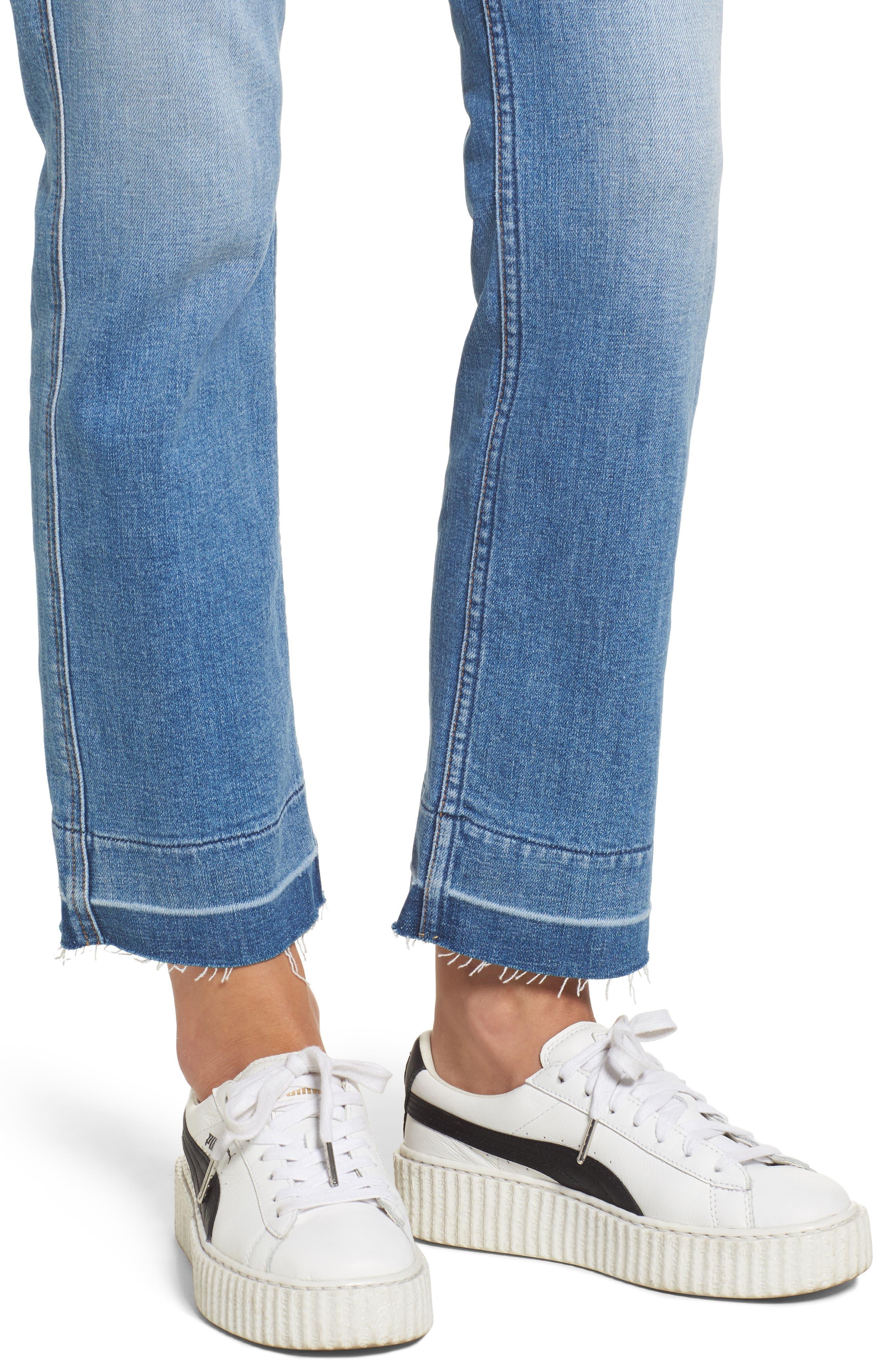Edie High Waist Crop Release Hem Jeans,                             Alternate thumbnail 4, color,                             400