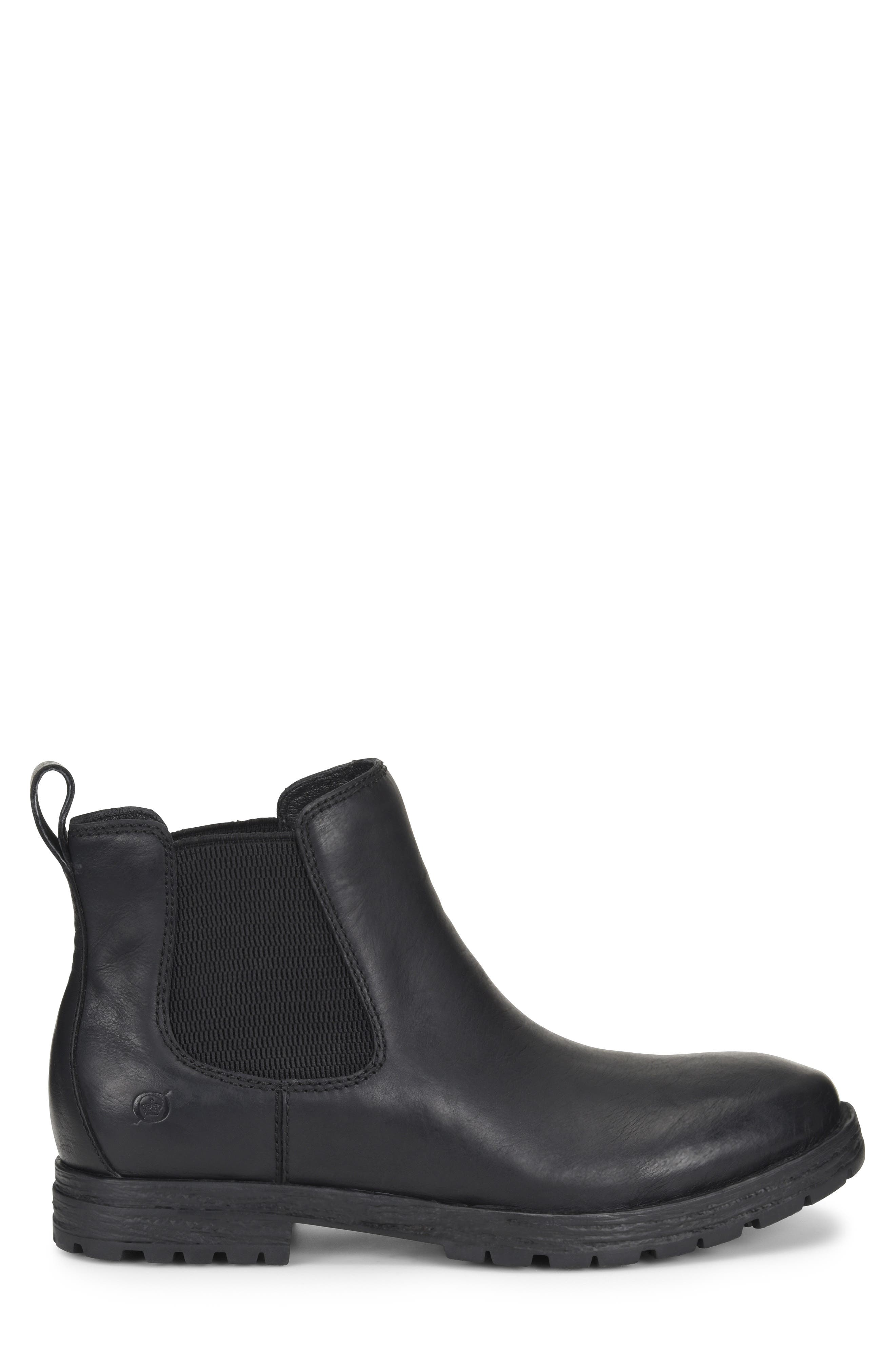 Pike Mid Waterproof Chelsea Boot,                             Alternate thumbnail 3, color,                             BLACK LEATHER