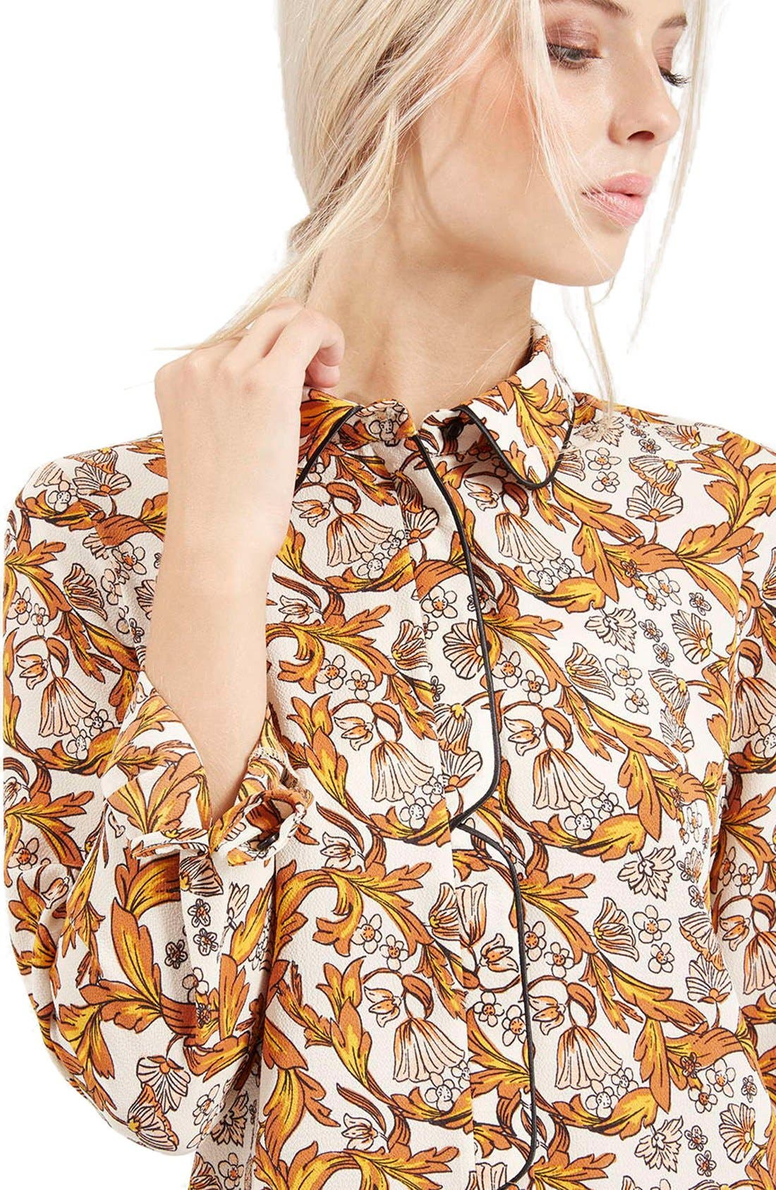 Piped Floral Print Shirt,                             Alternate thumbnail 2, color,                             900