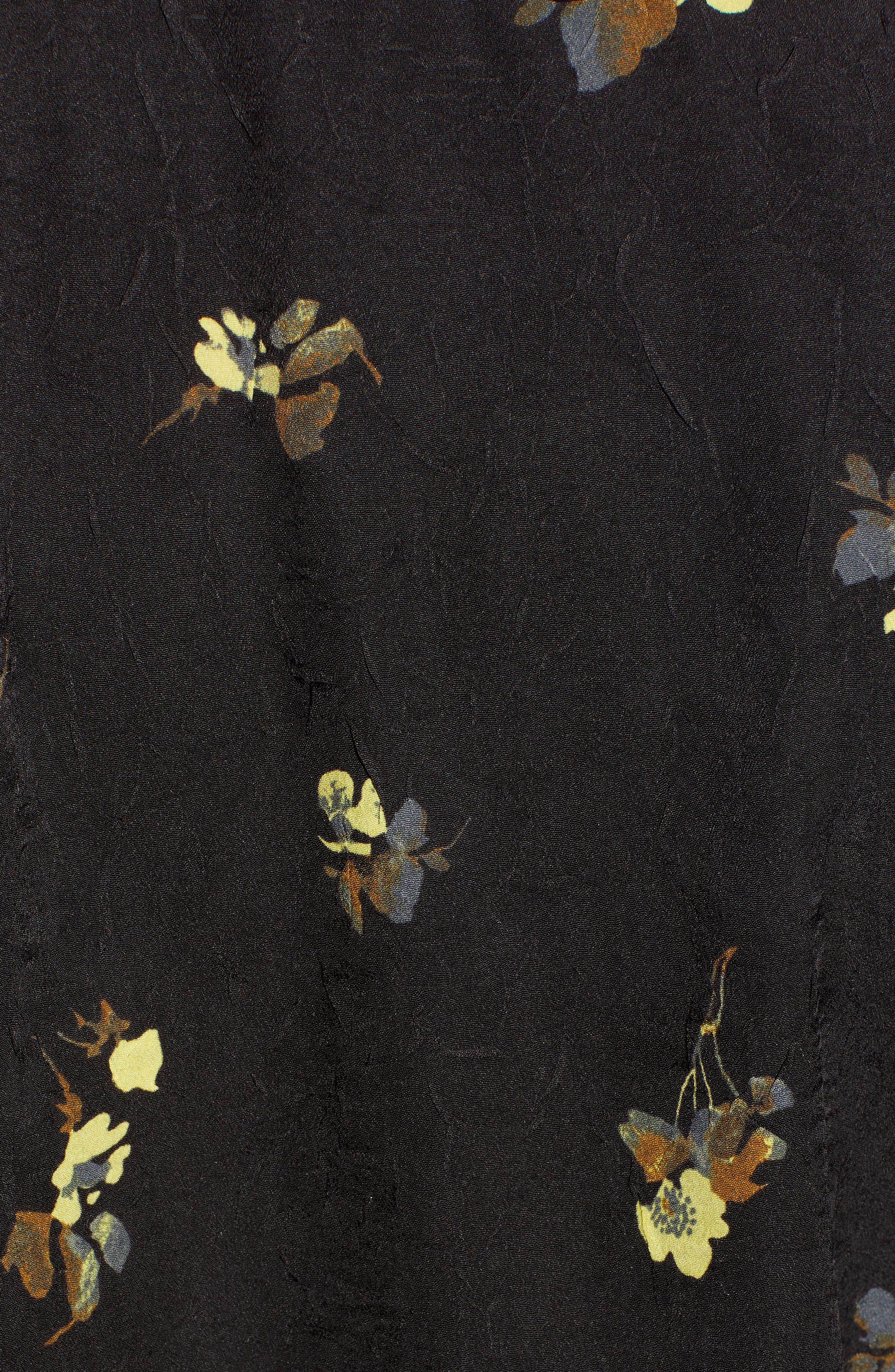 Floral Print Faux Wrap Top,                             Alternate thumbnail 5, color,                             BLACK METEORITE SOFT BLOOMS