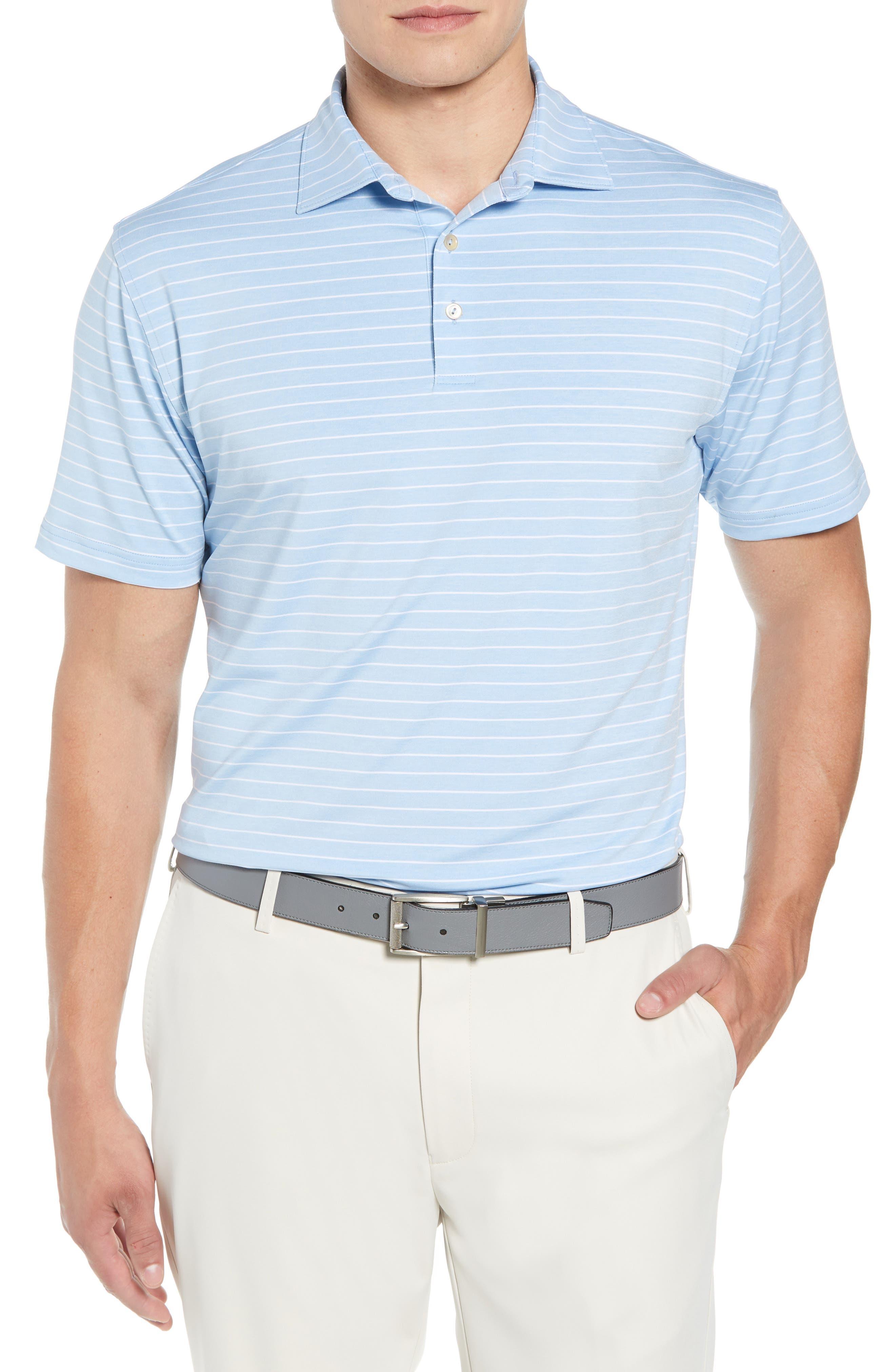 Peter Millar Halifax Stripe Stretch Jersey Polo, Blue