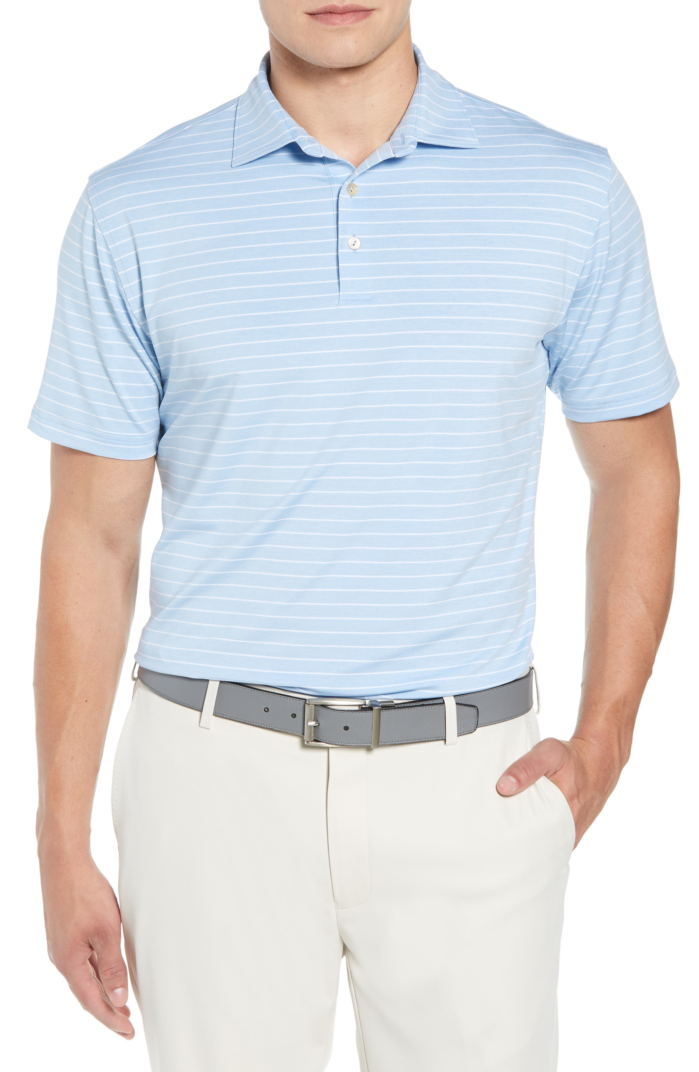 Halifax Stripe Stretch Jersey Polo,                             Main thumbnail 1, color,                             COTTAGE BLUE