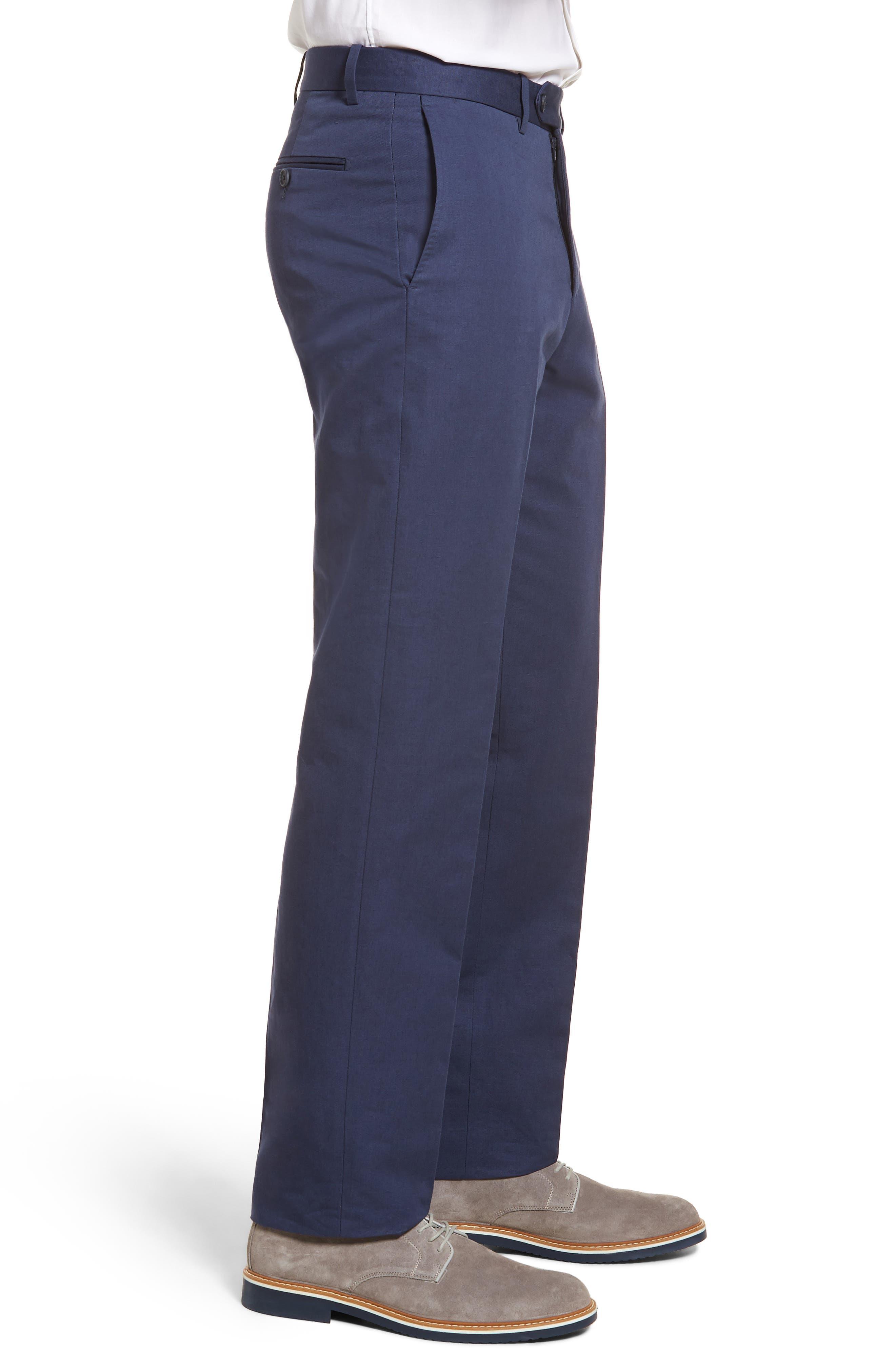 Flat Front Solid Cotton & Linen Trousers,                             Alternate thumbnail 16, color,