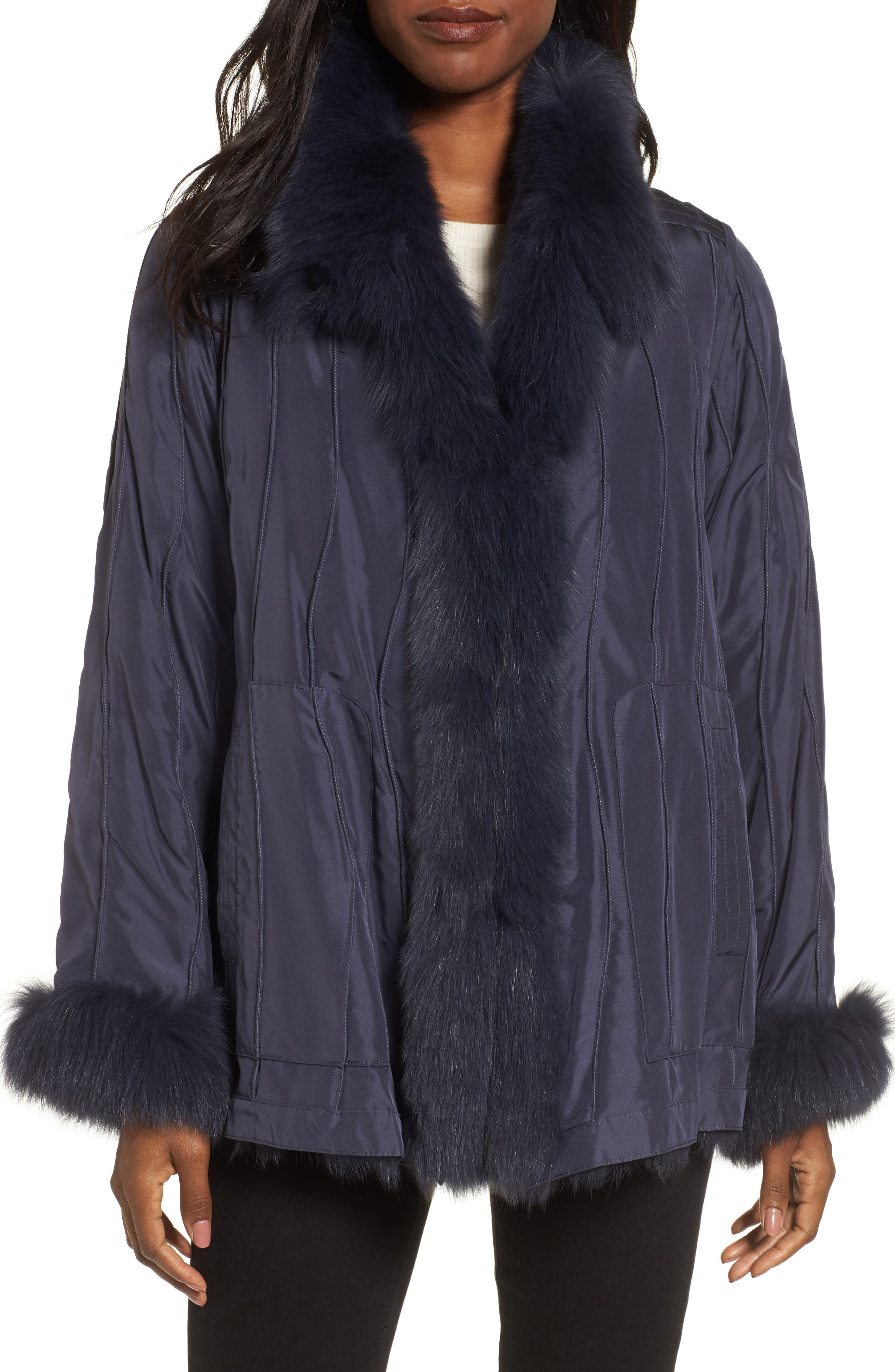 GeorgeSimonton Reversible Silk & Genuine Fox Fur Topper,                             Main thumbnail 2, color,