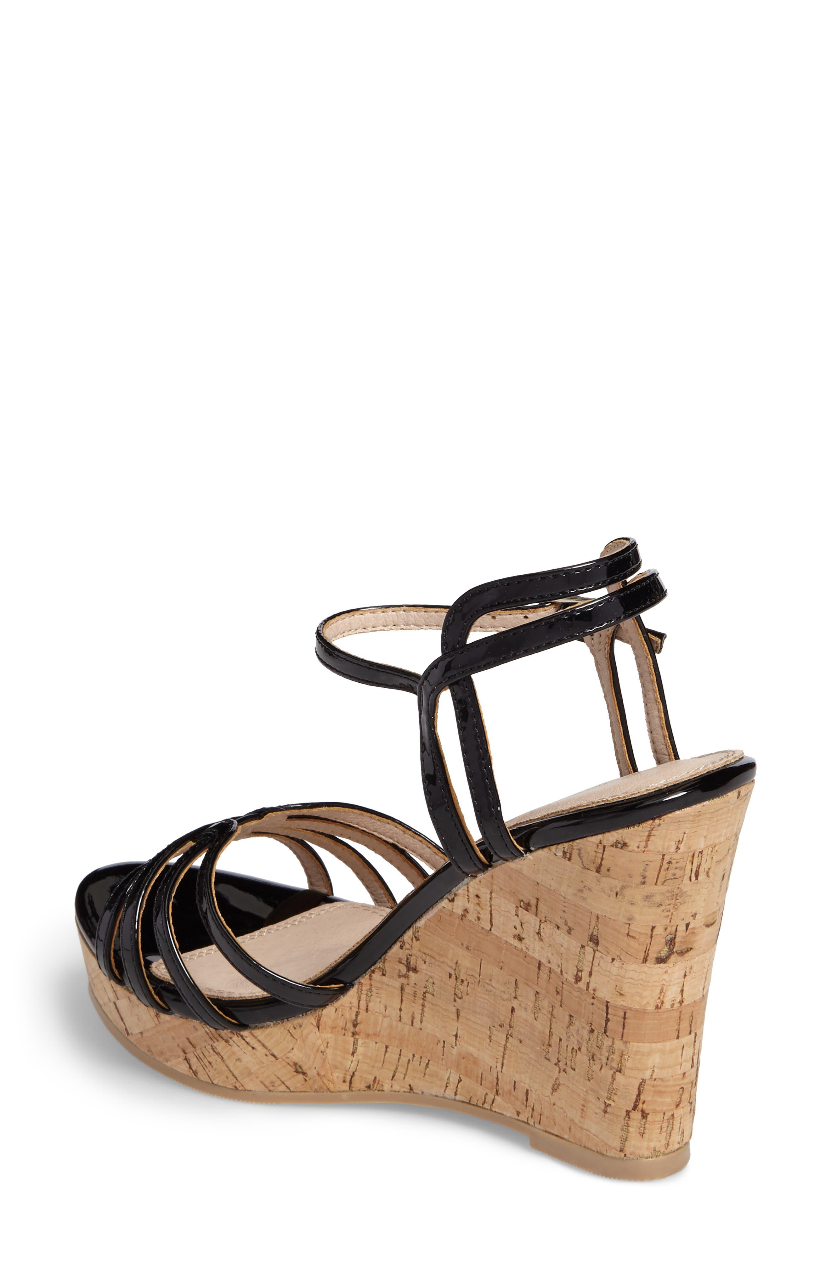 Oasis Platform Wedge Sandal,                             Alternate thumbnail 2, color,                             BLACK SYNTHETIC