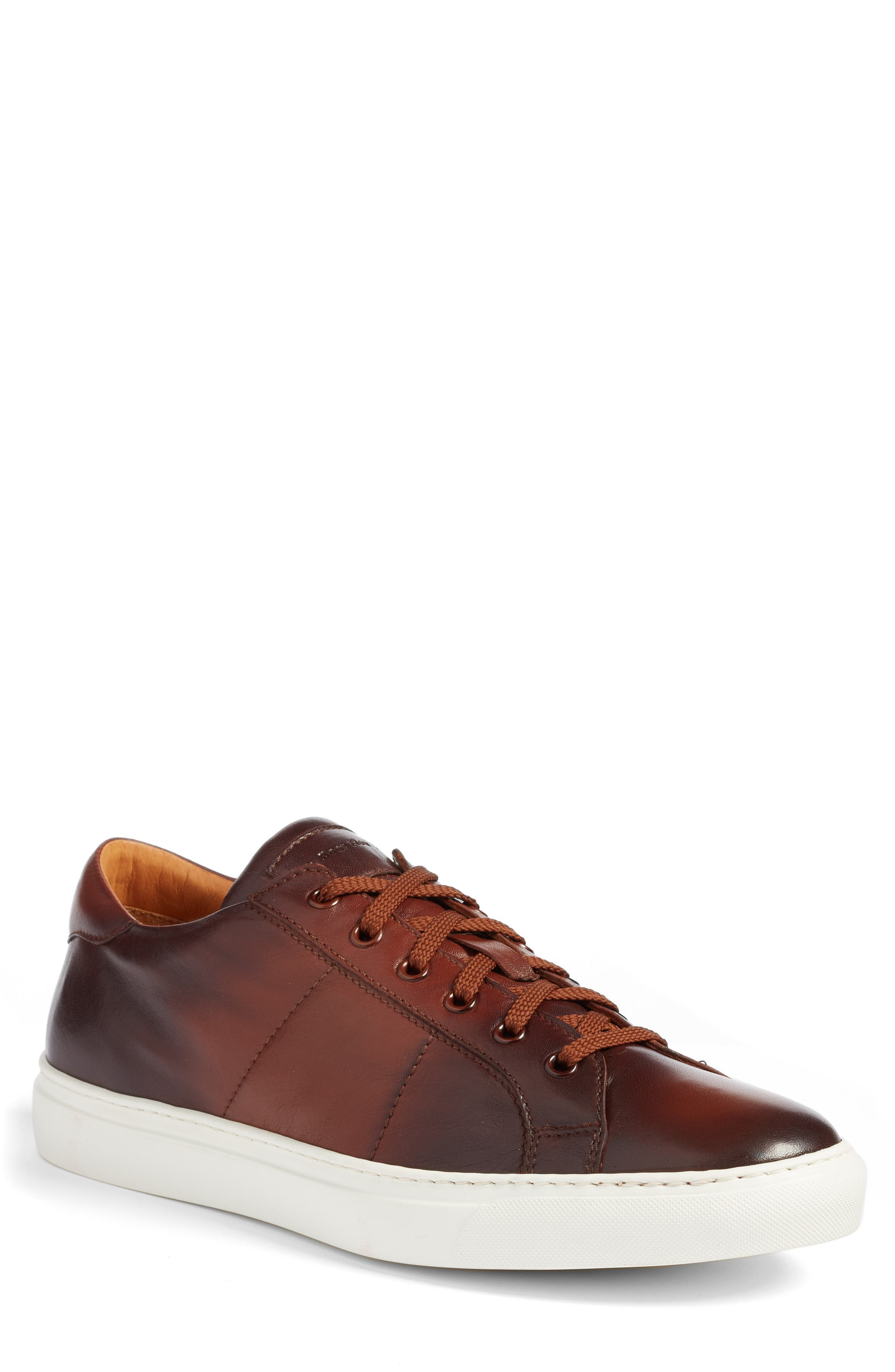 TO BOOT NEW YORK Men'S Colton Leather Lace-Up Sneakers in Brown Leather