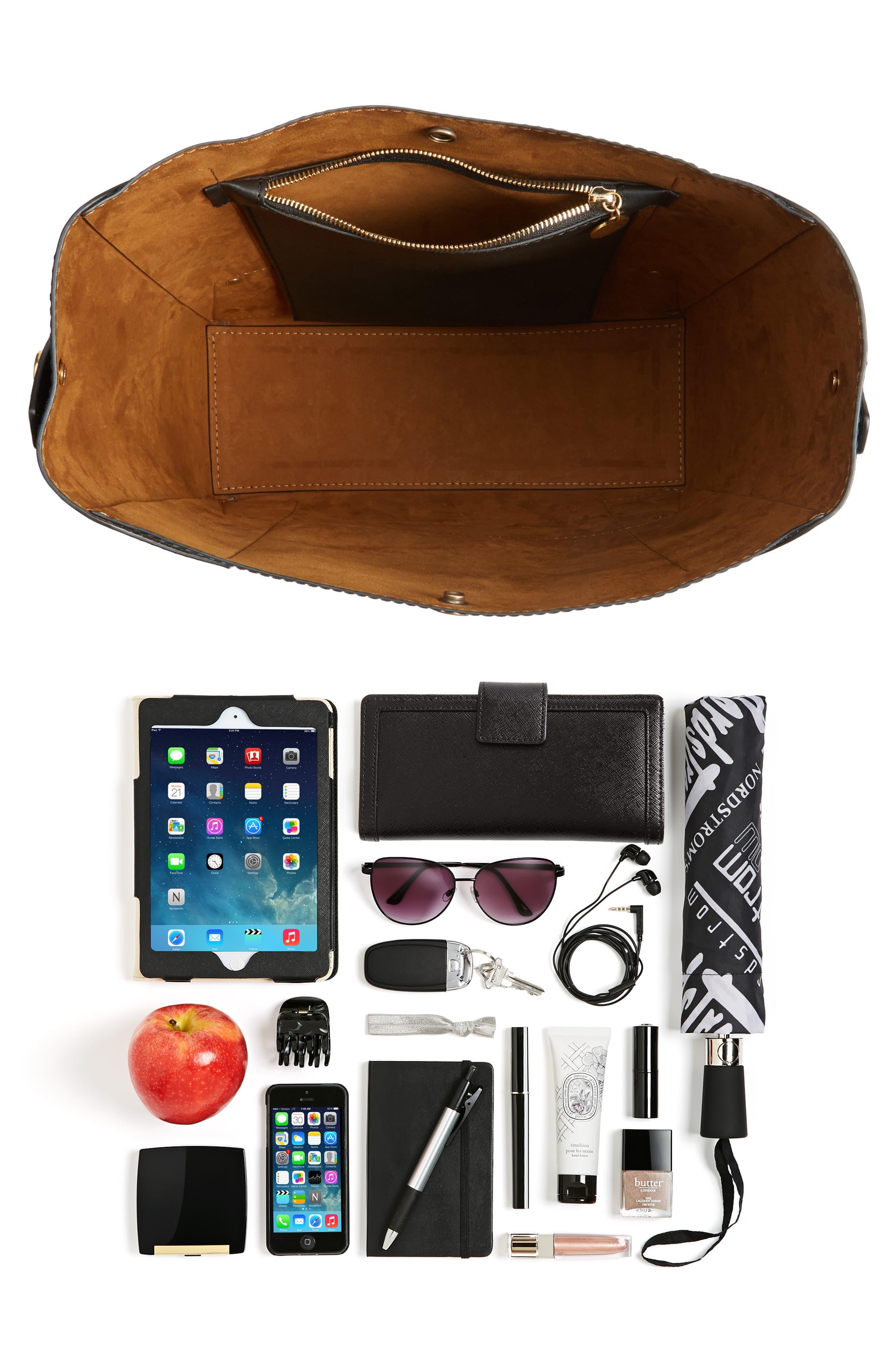 Faux Leather Bucket Bag,                             Alternate thumbnail 7, color,                             001