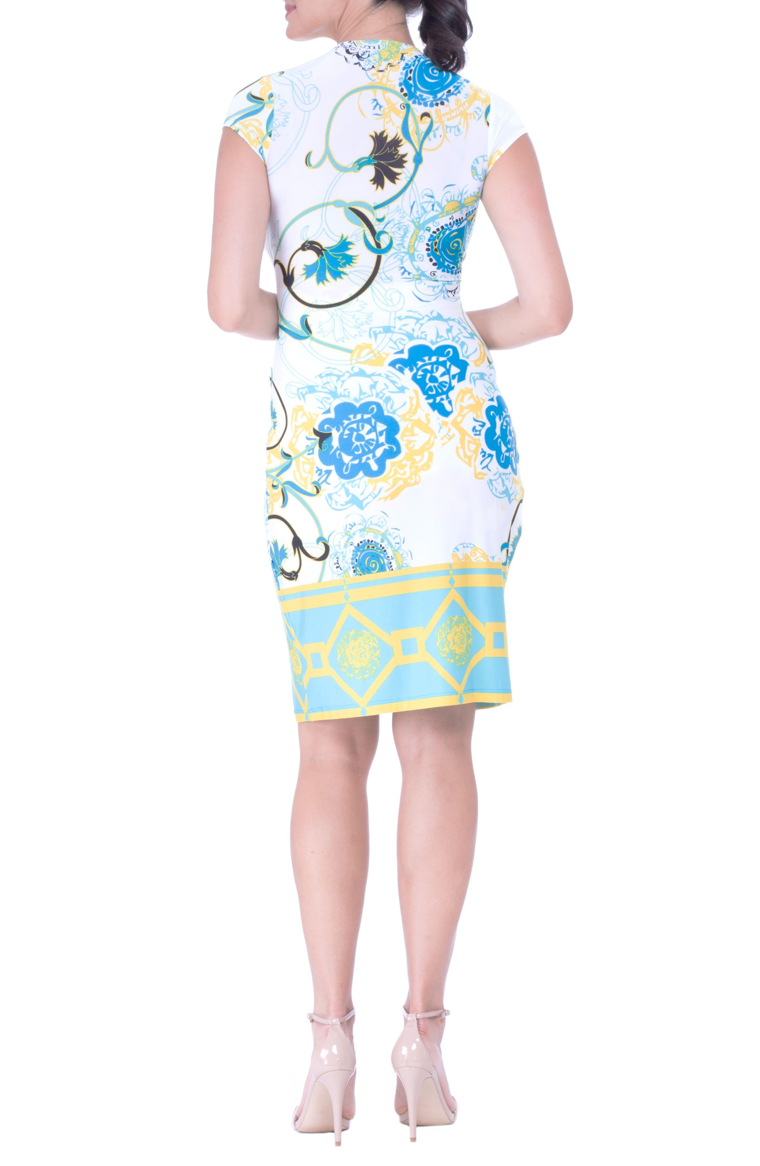 Faux Wrap Maternity Dress,                             Alternate thumbnail 2, color,                             AQUA