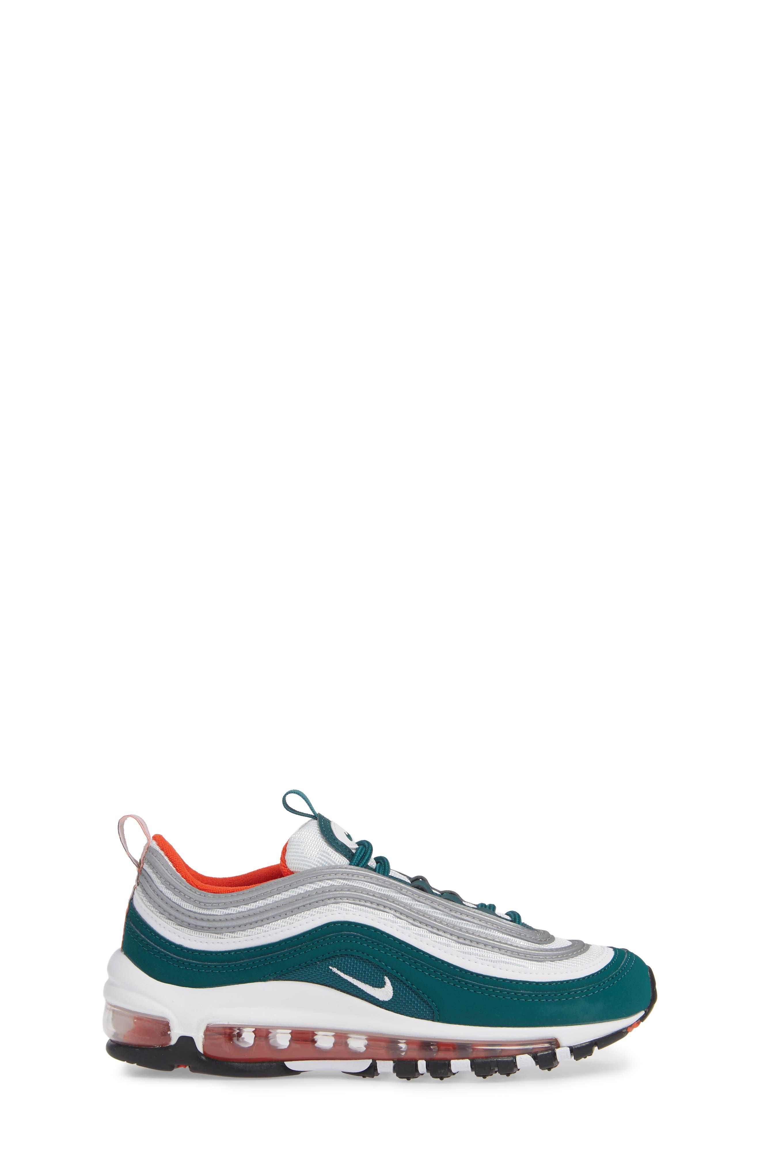 NIKE,                             Air Max 97 Sneaker,                             Alternate thumbnail 3, color,                             RAINFOREST/ WHITE/ ORANGE