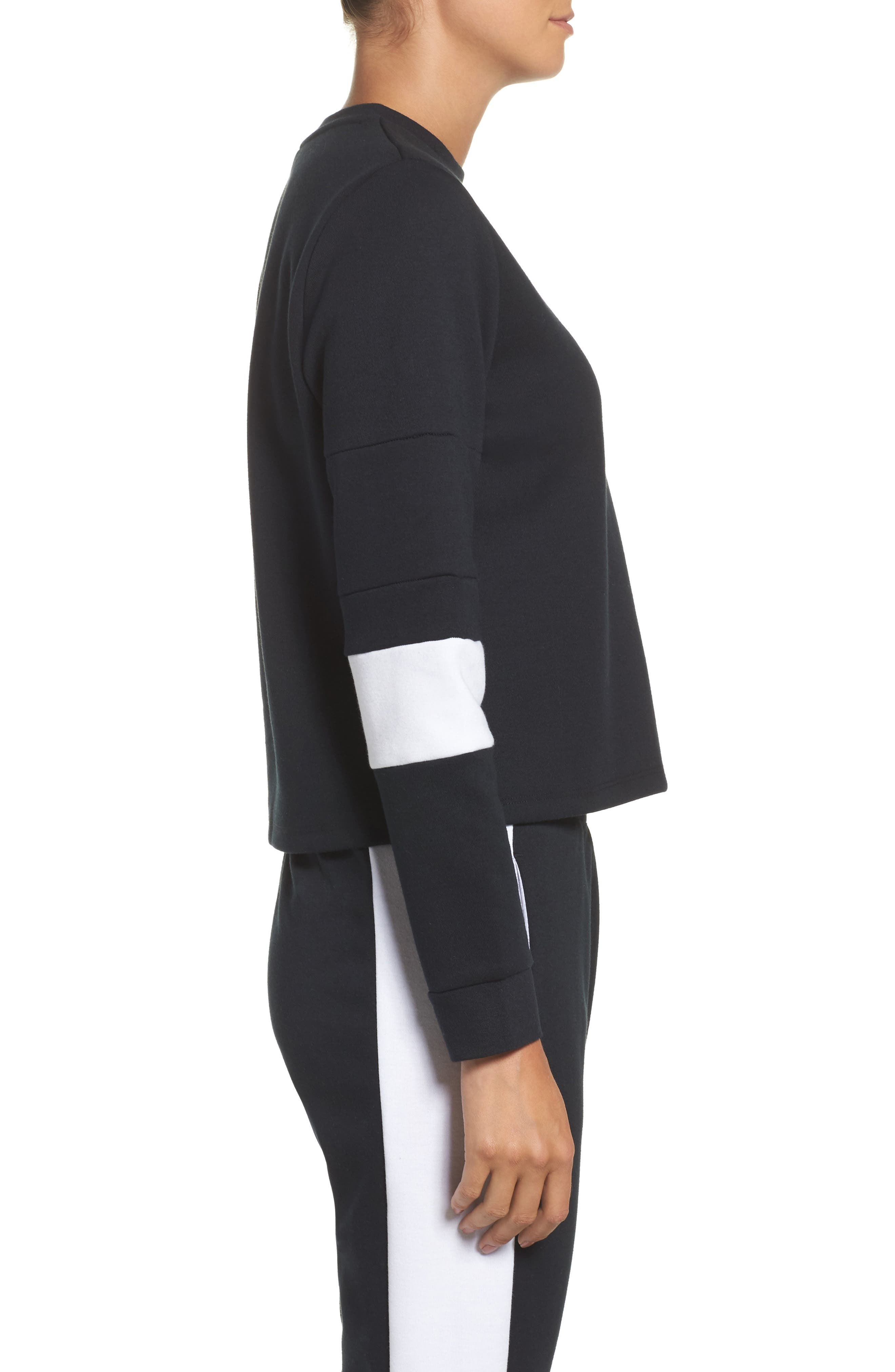 Colorblock Crewneck Top,                             Alternate thumbnail 3, color,                             BLACK