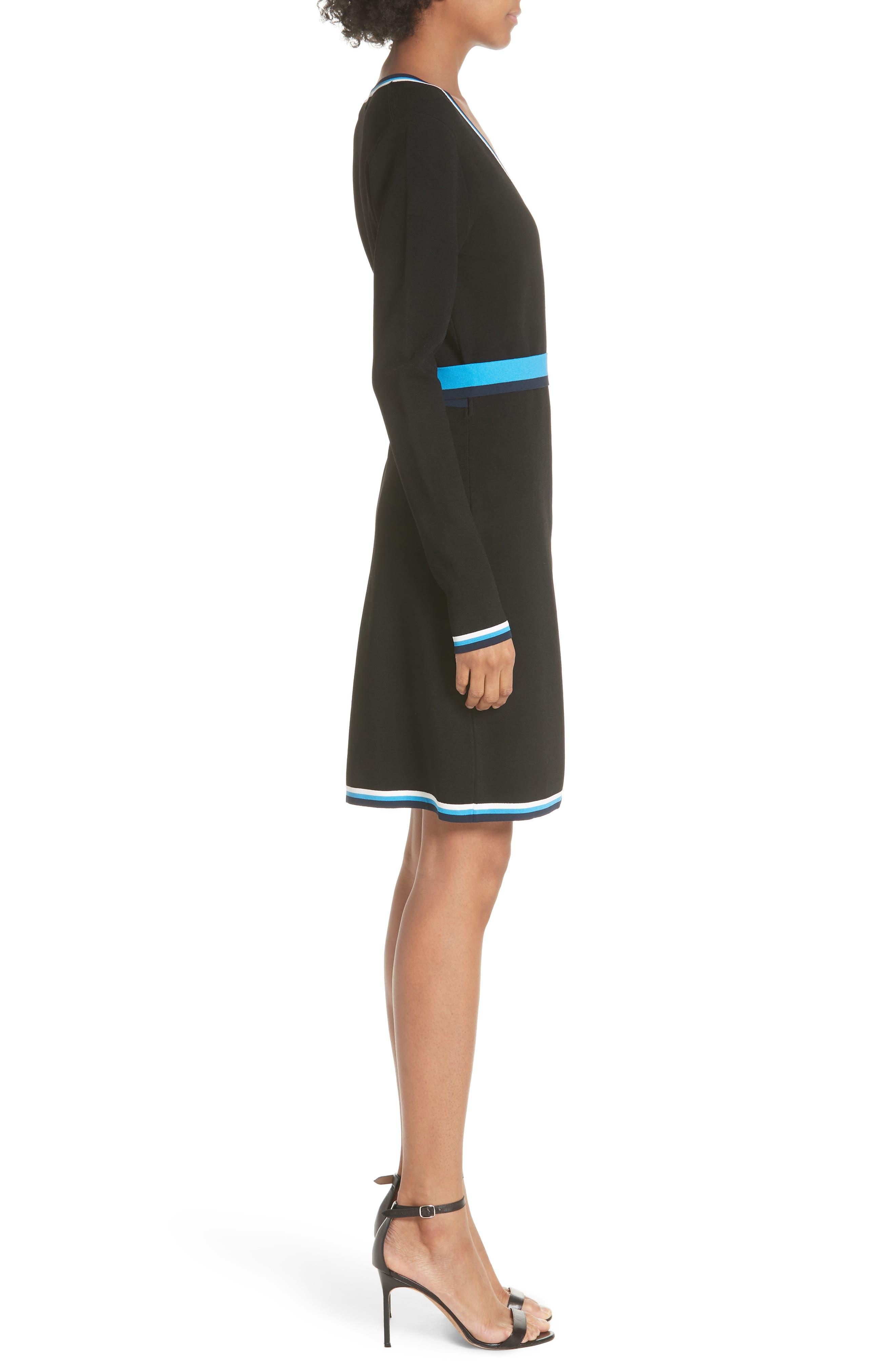 Diane von Furstenberg Wrap Sweater Dress,                             Alternate thumbnail 3, color,                             006