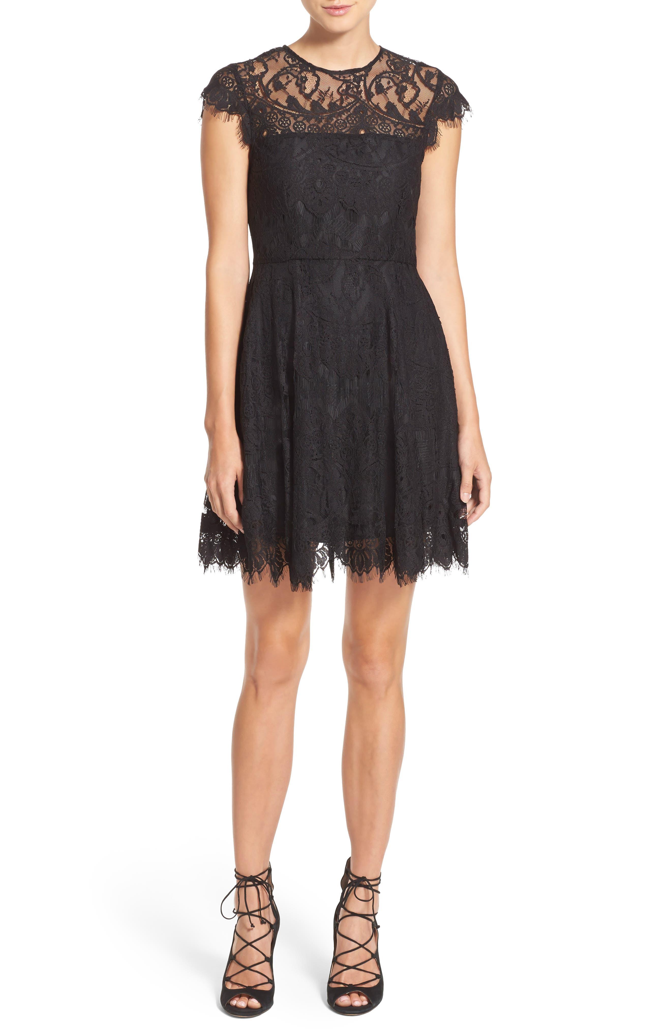 Bb Dakota Rhianna Open Back Lace Fit & Flare Cocktail Dress, Black