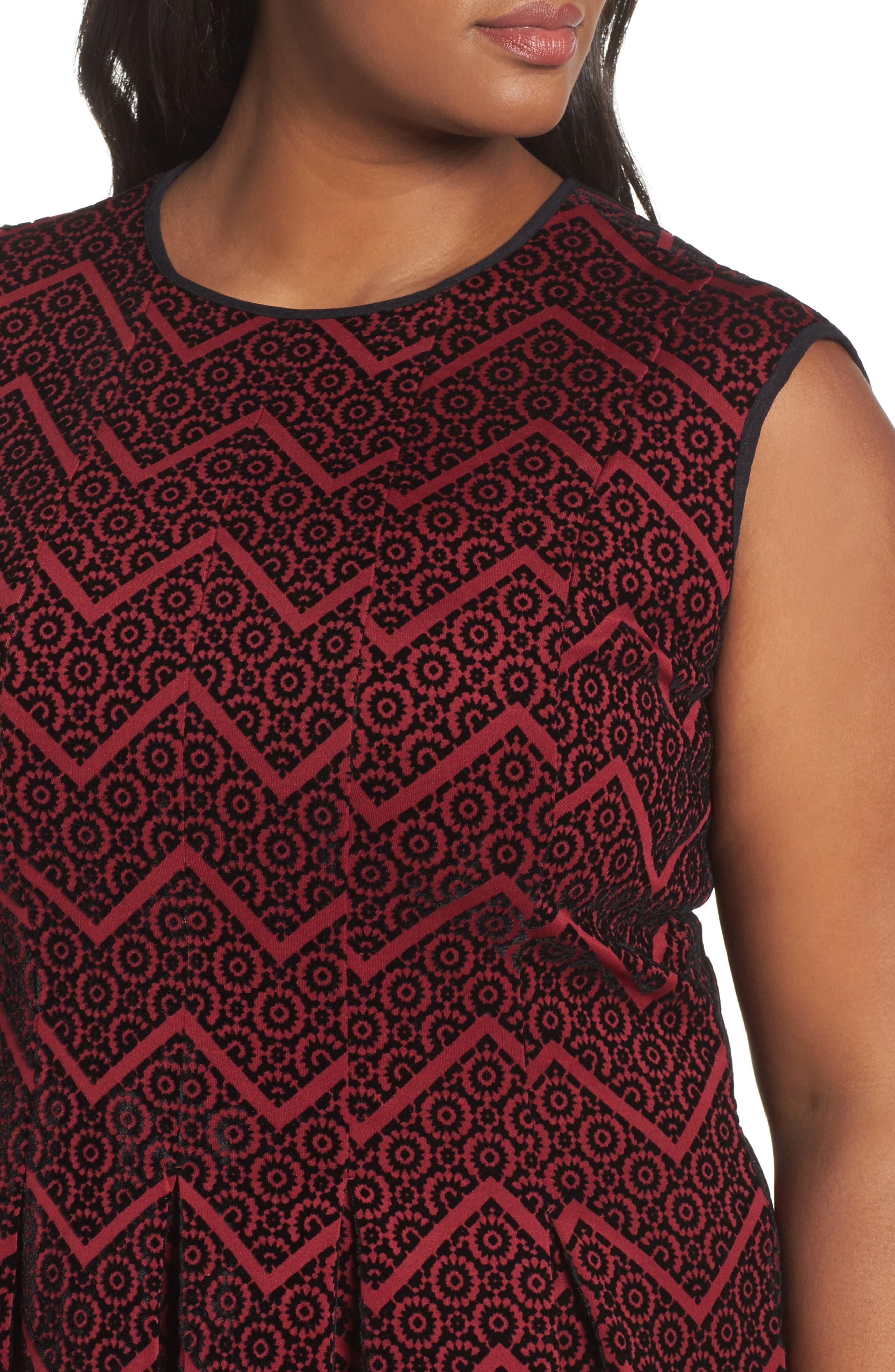 Flocked Fit & Flare Dress,                             Alternate thumbnail 4, color,                             602